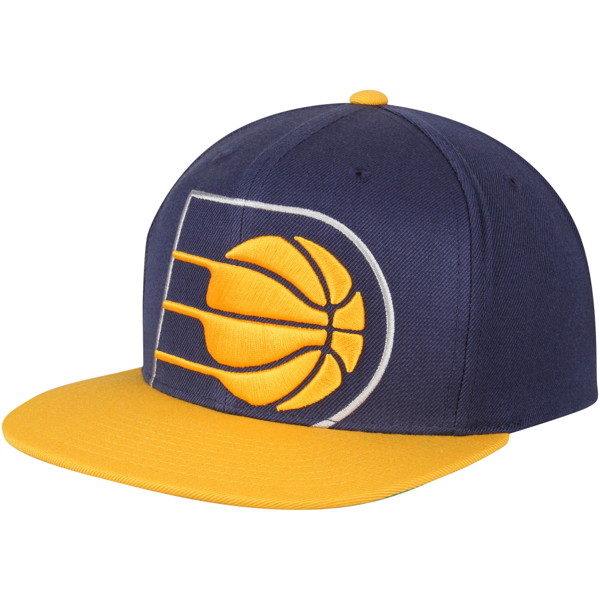 Indiana Pacers Mitchell & Ness Cropped XL Logo Adjustable Snapback Hat - Navy/Gold