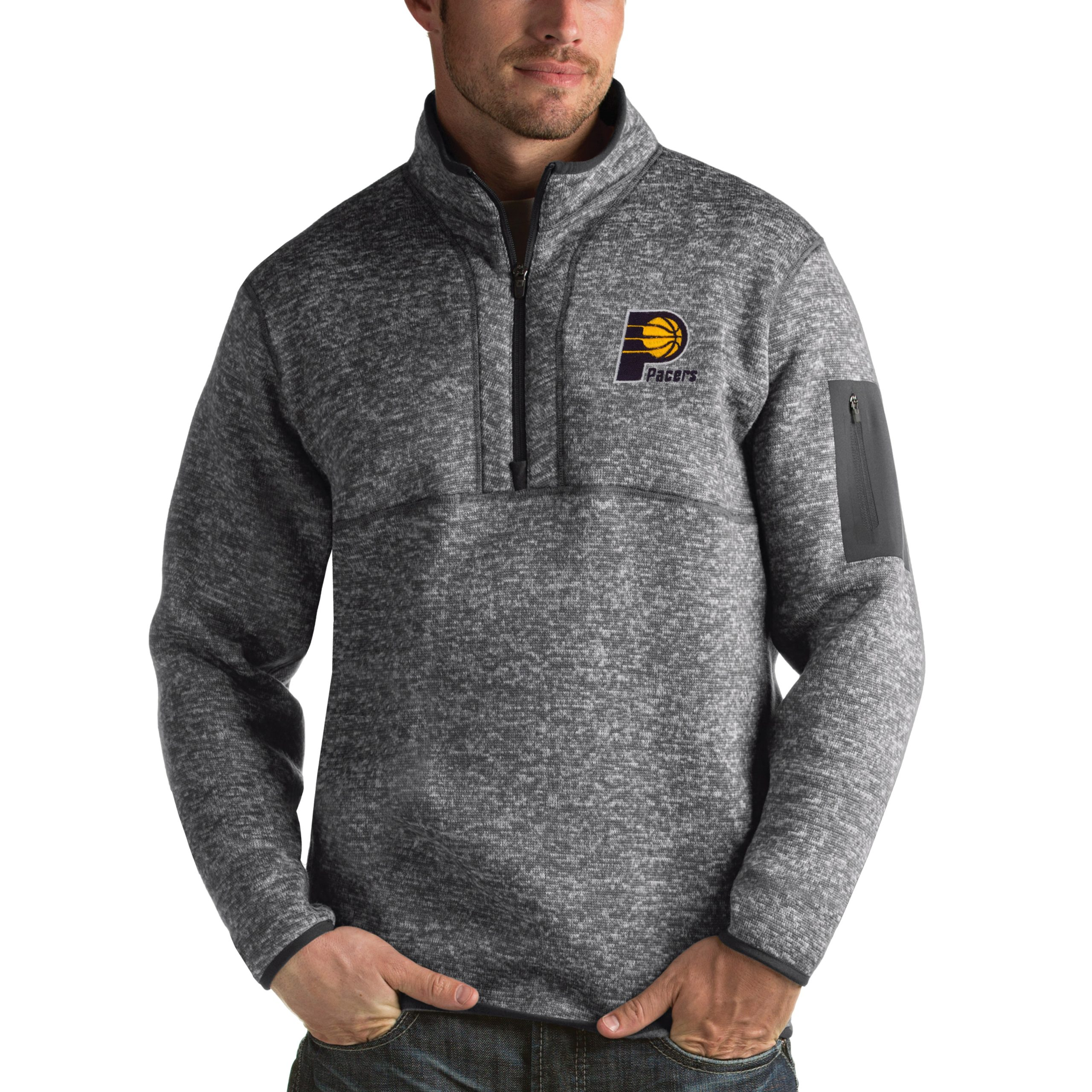 Indiana Pacers Antigua Fortune 1/2-Zip Pullover Jacket - Heathered Black