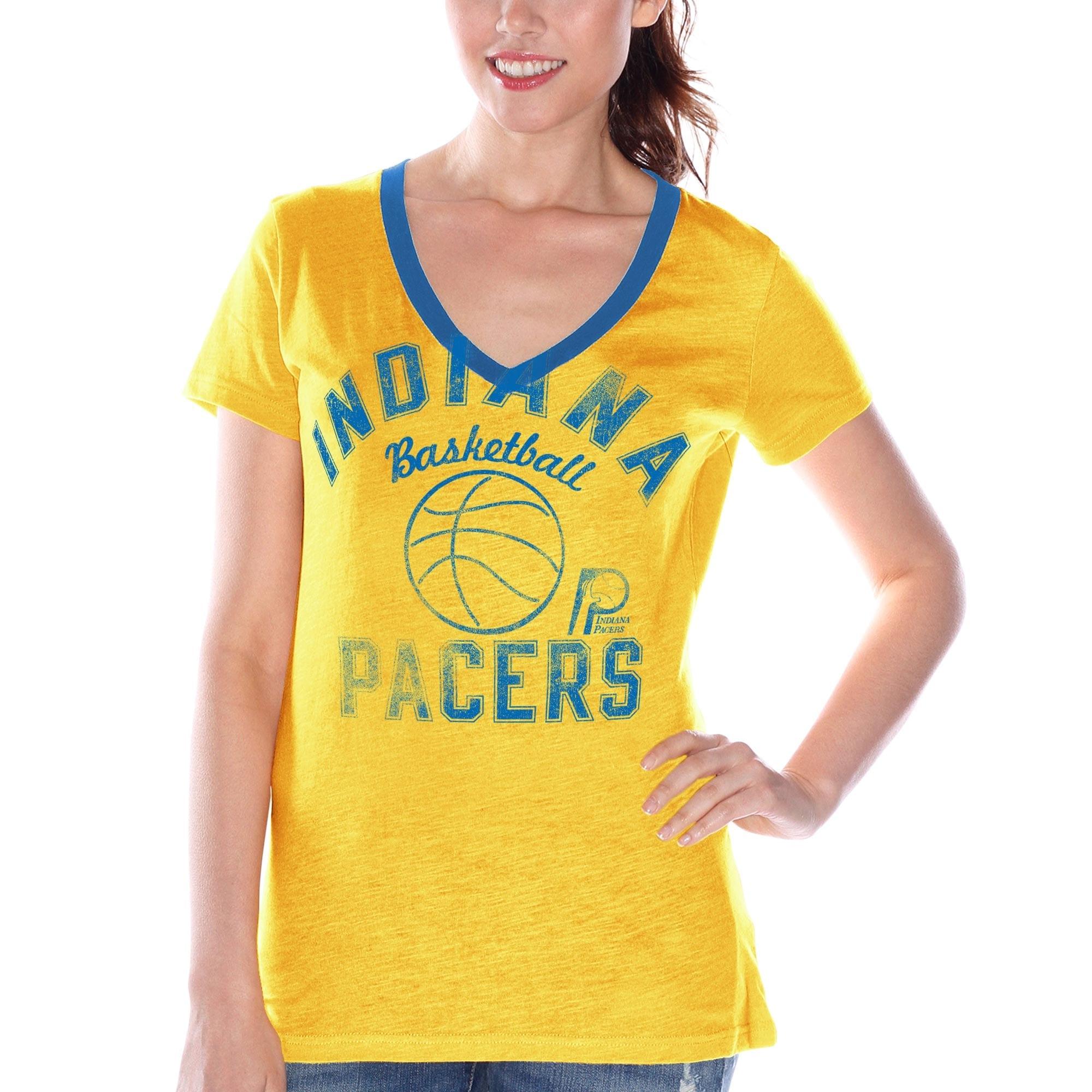 Indiana Pacers Women's Hardwood Classics Back Court Logo V-Neck T-Shirt - Gold