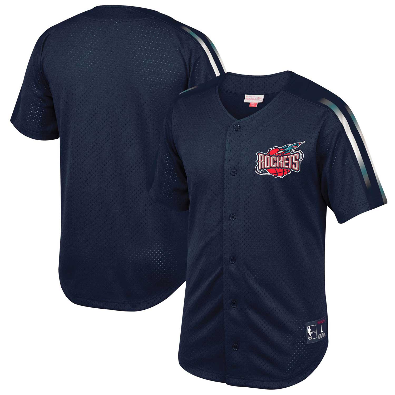 Houston Rockets Mitchell & Ness Winning Team Mesh Button Front Shirt - Navy