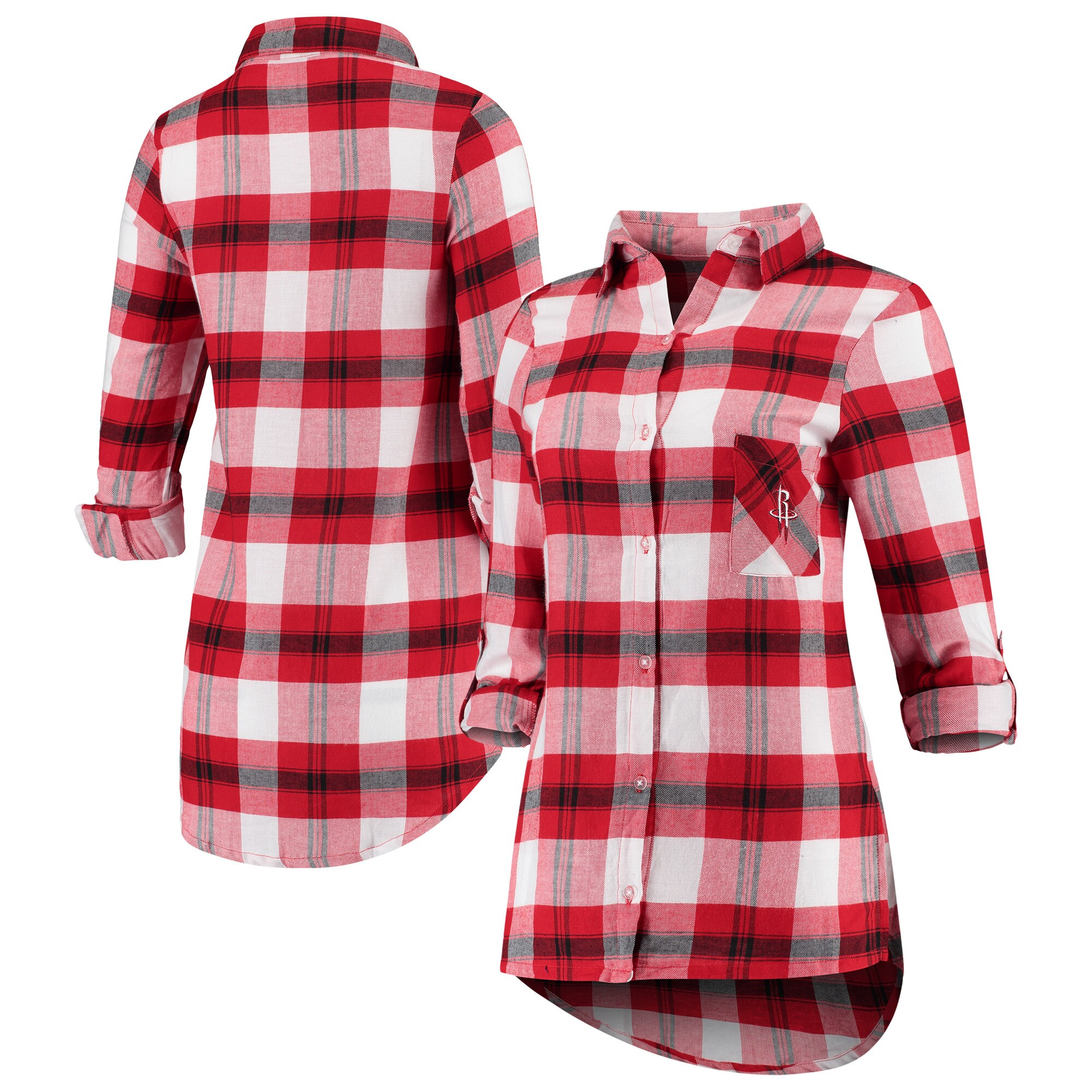 Houston Rockets Concepts Sport Women's Headway Long Sleeve Plaid Tunic - Red/Black