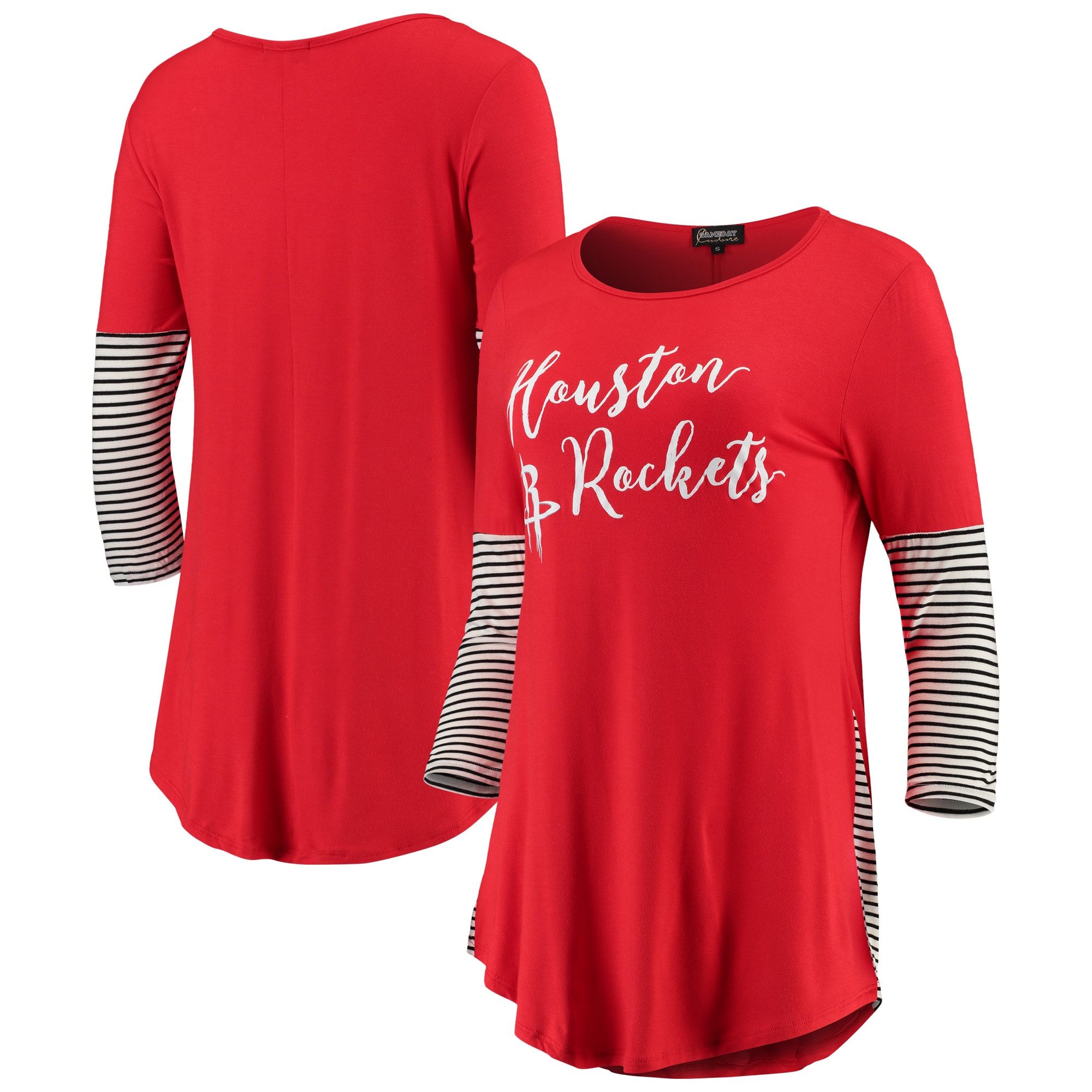 Houston Rockets Women's Striking in Stripes 3/4 Sleeve Tunic T-Shirt - Red