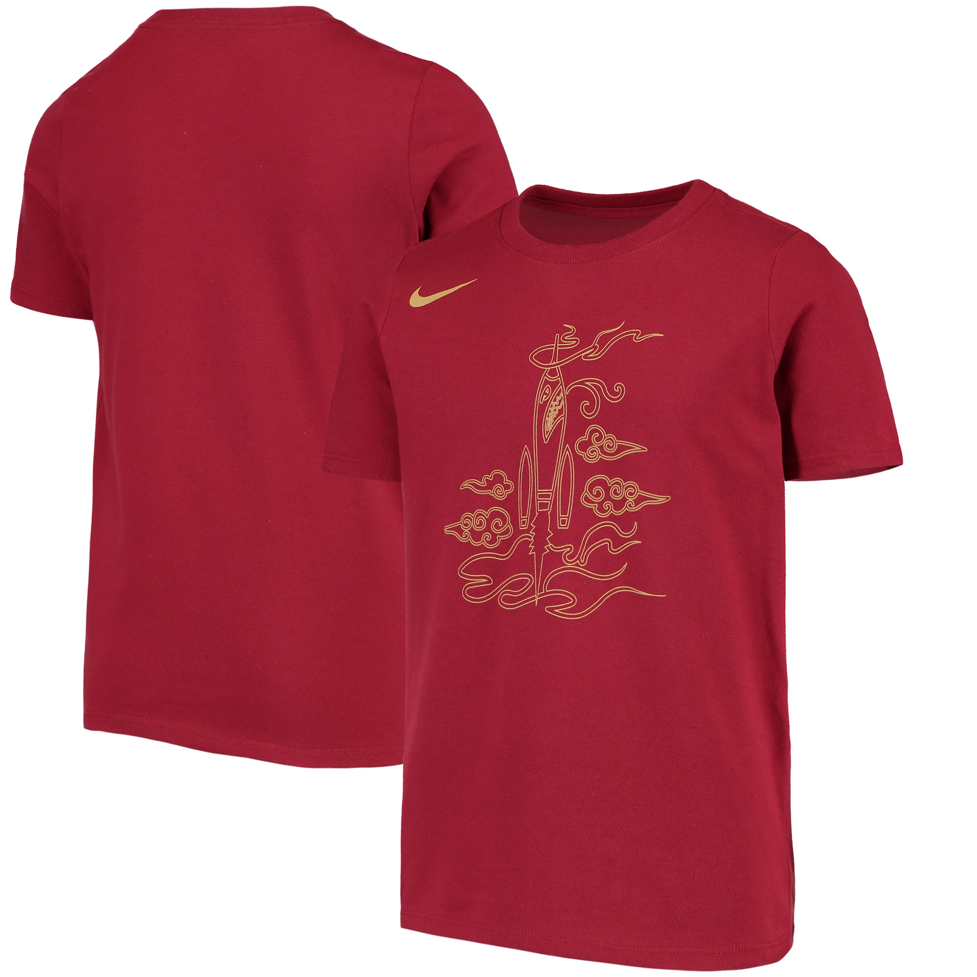 Houston Rockets Nike Youth City Edition Logo T-Shirt - Red