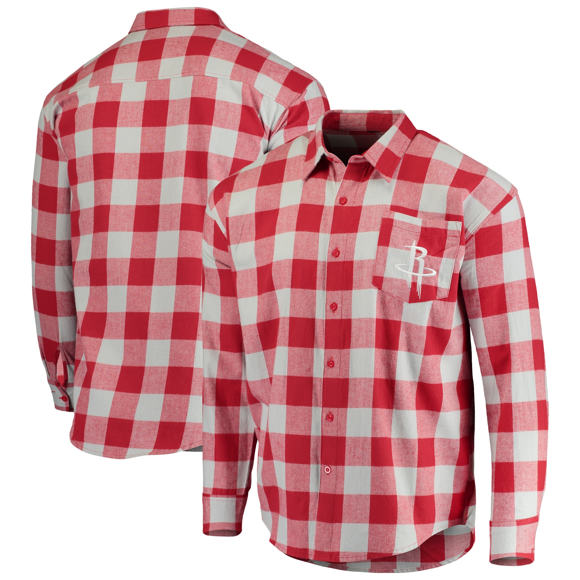 Houston Rockets Big Checker Plaid Flannel Long Sleeve Button-Up Shirt - Red