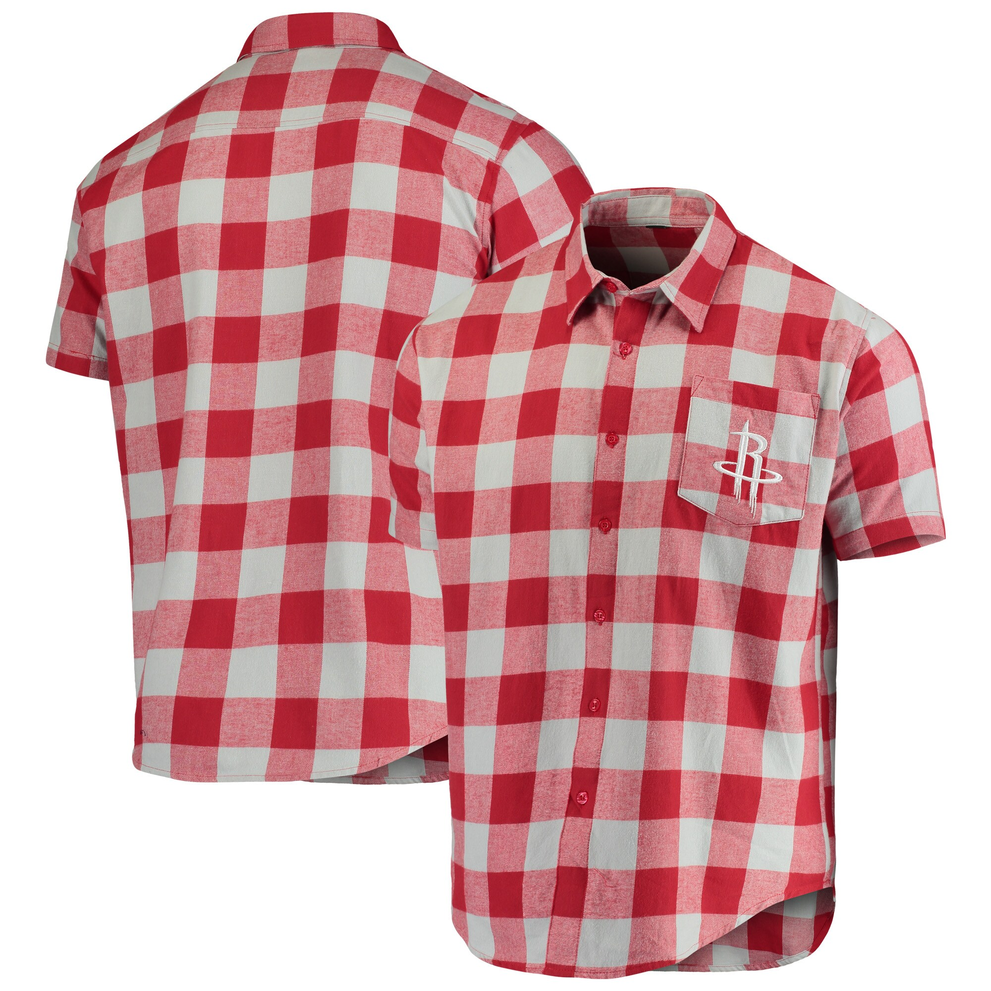 Houston Rockets Big Checker Plaid Flannel Short Sleeve Button-Up Shirt - Red