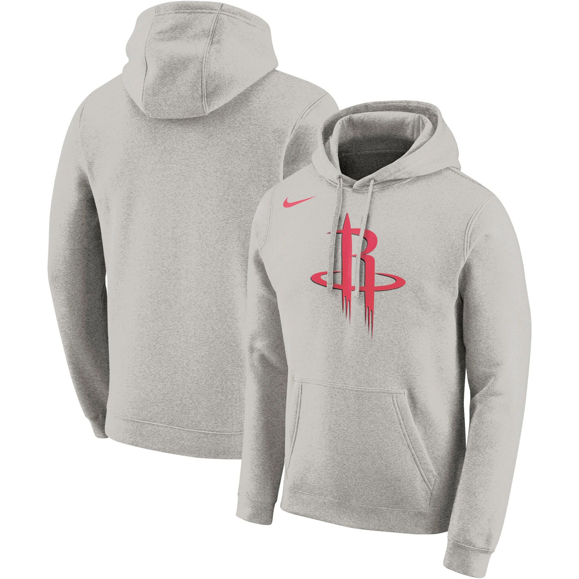 Houston Rockets Nike Essential Logo Fleece Pullover Hoodie - Heathered Gray