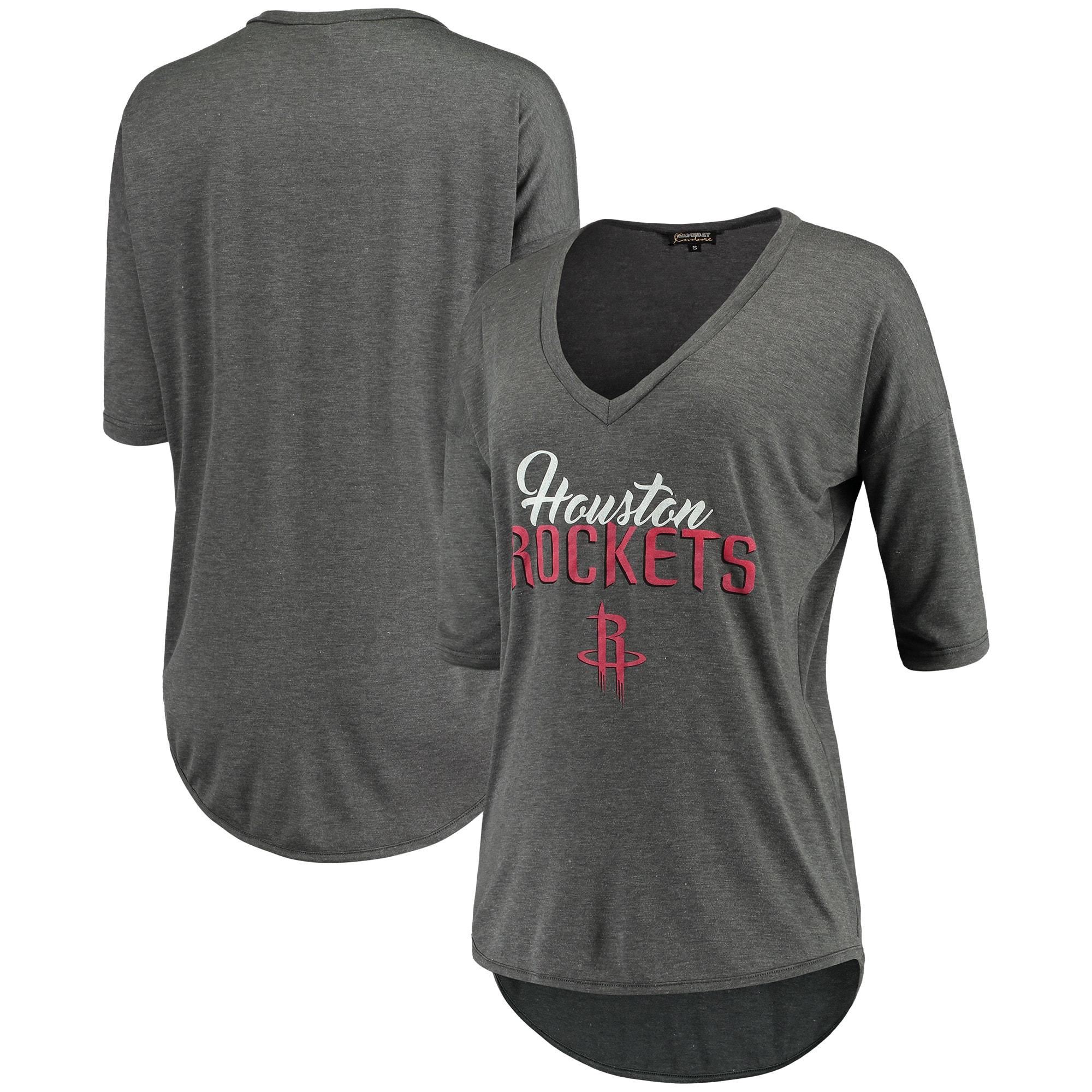 Houston Rockets Women's Deep V-Neck Tri-Blend Half-Sleeve T-Shirt - Gray