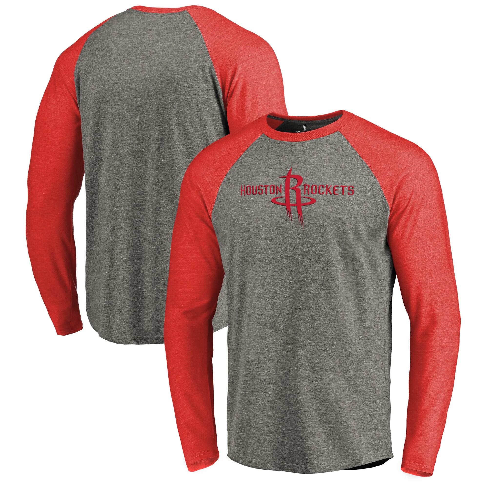 Houston Rockets Fanatics Branded Primary Logo Raglan Long Sleeve T-Shirt - Heathered Gray