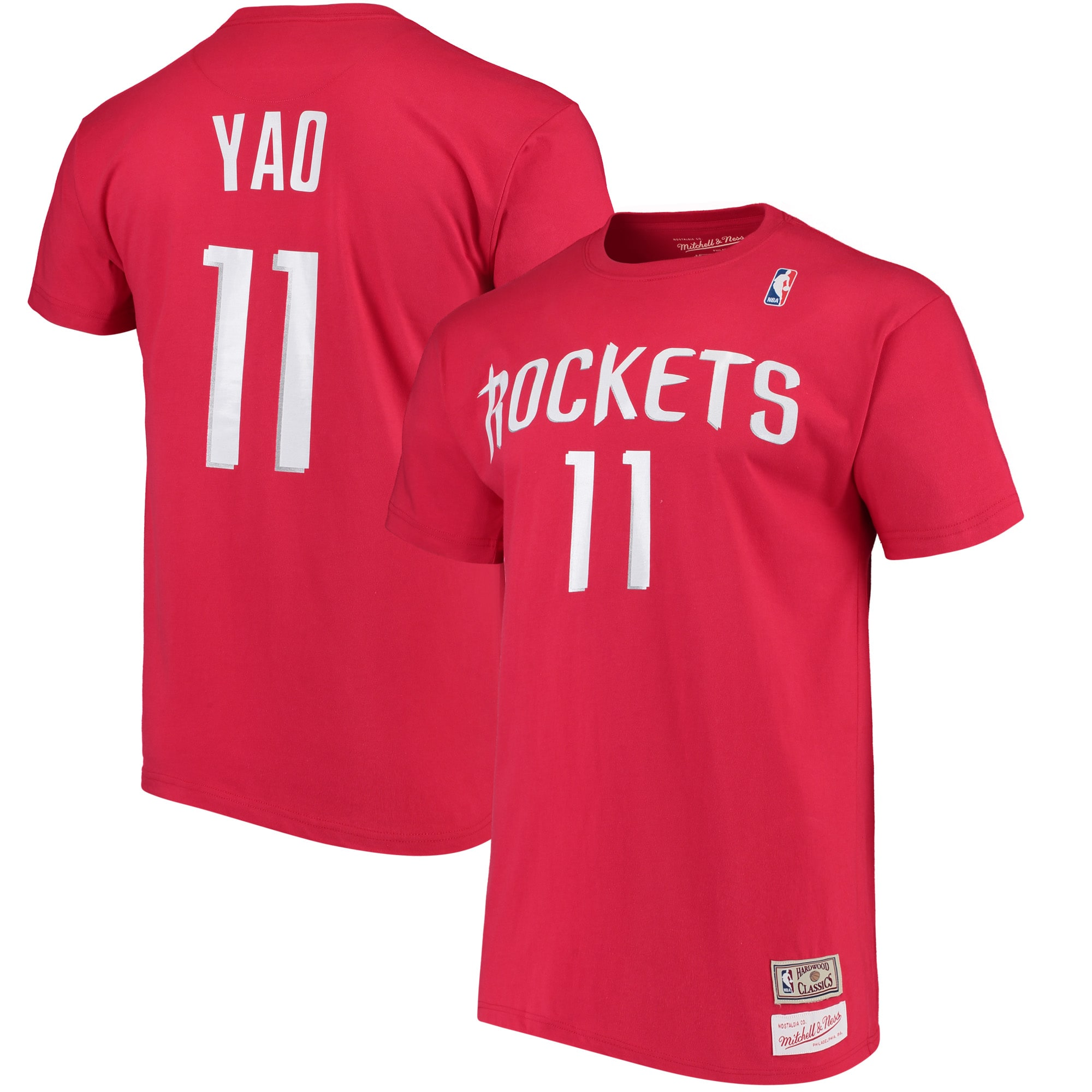 Yao Ming Houston Rockets Mitchell & Ness Hardwood Classics Retro Name & Number T-Shirt - Red