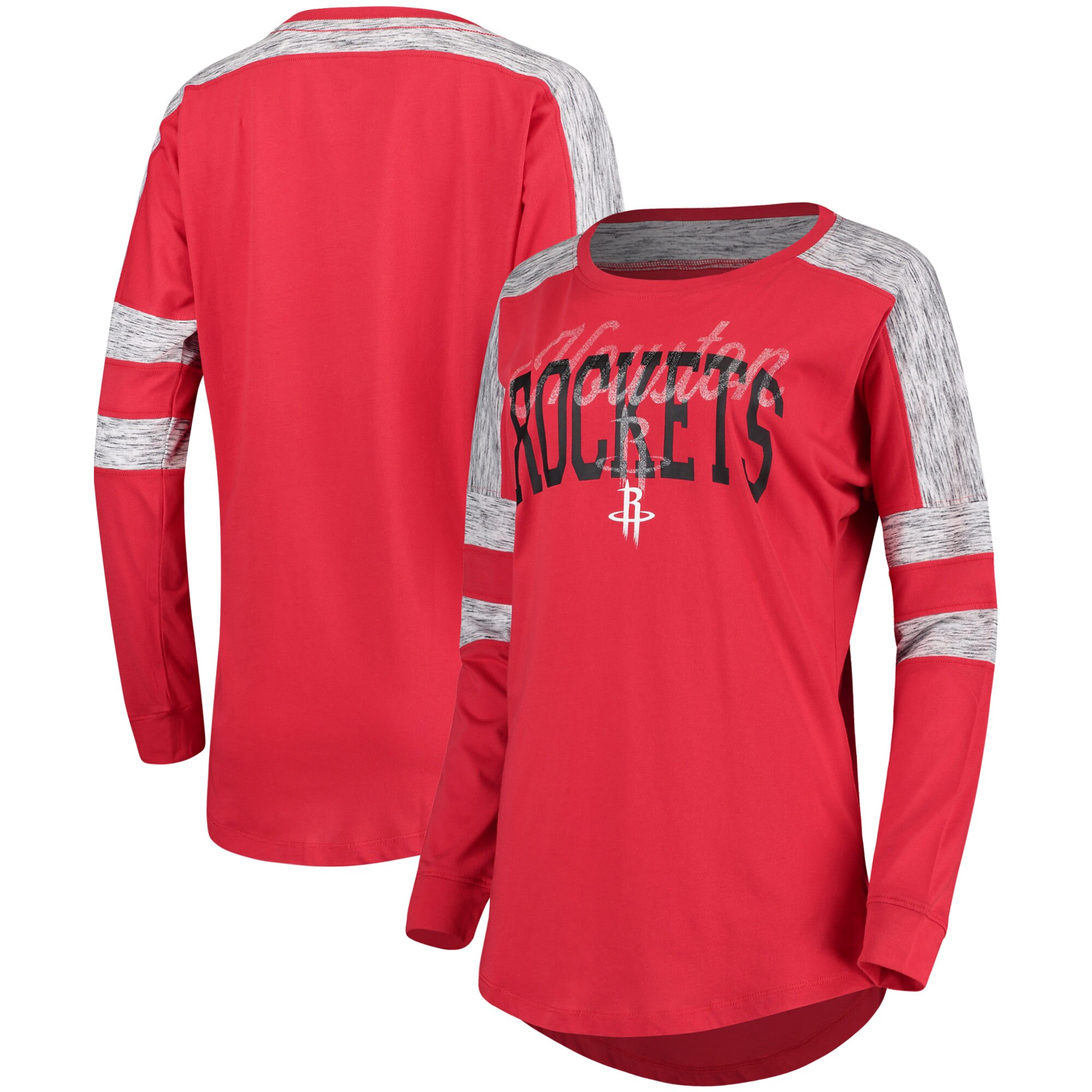 Houston Rockets 5th & Ocean by New Era Women's Space Dye Baby Jersey Long Sleeve T-Shirt - Red