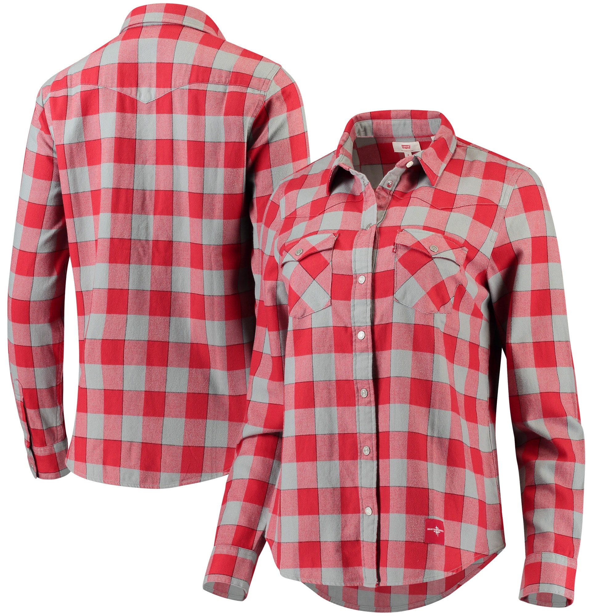 Houston Rockets Levi's Women's Buffalo Western Long Sleeve Button-Up Shirt - Red/White