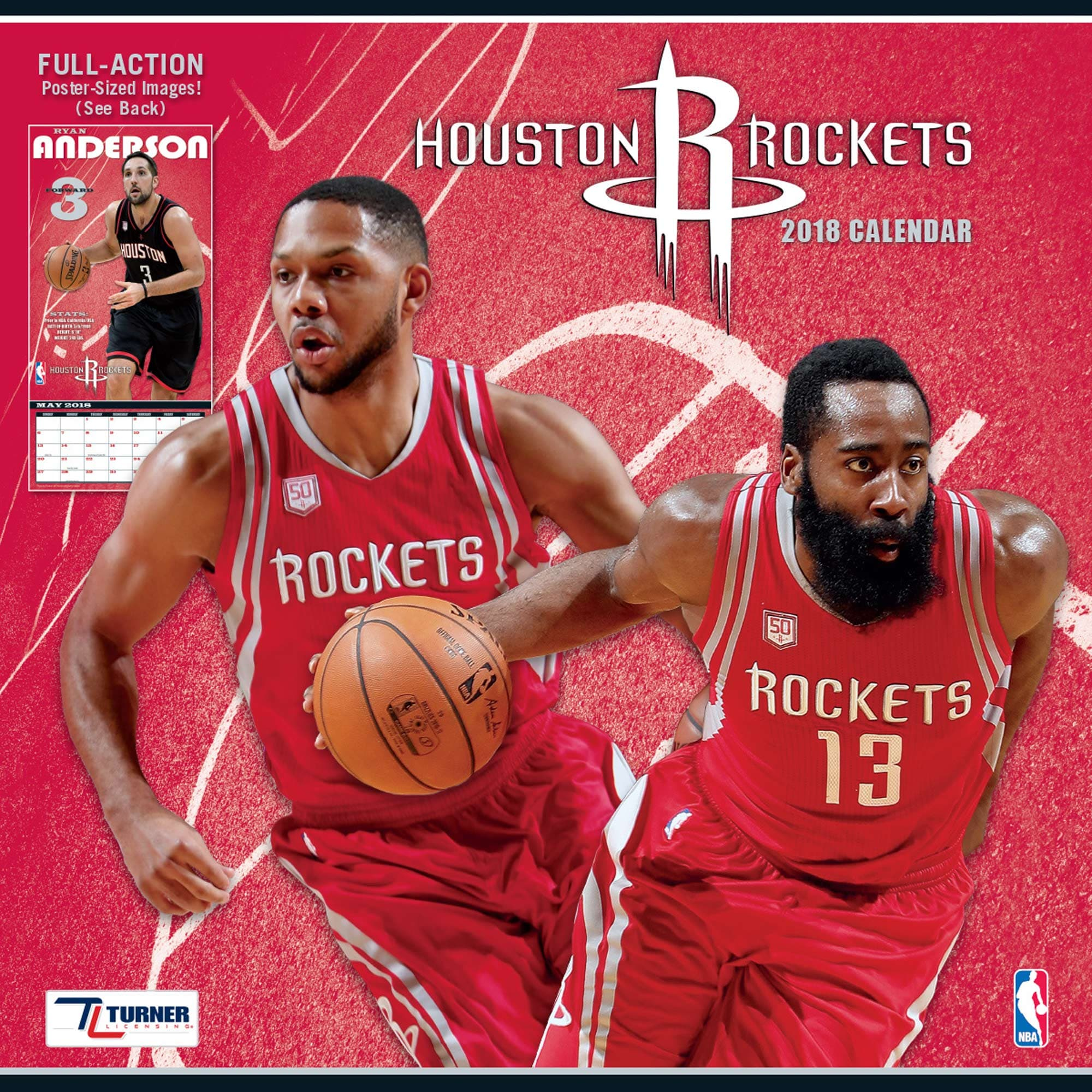 "Houston Rockets 2018 12"" x 12"" Team Wall Calendar"