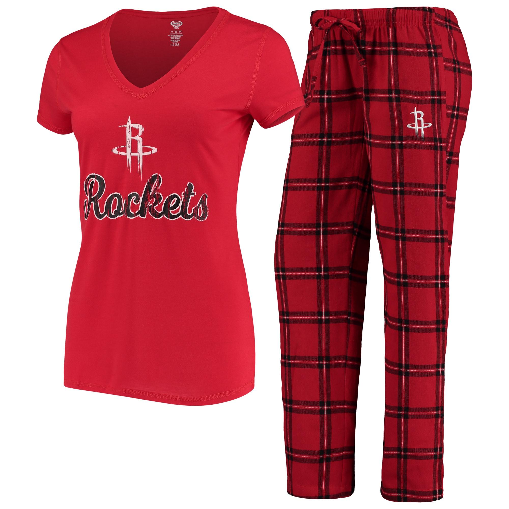 Houston Rockets Concepts Sport Women's Troupe V-Neck T-Shirt & Pants Sleep Set - Red
