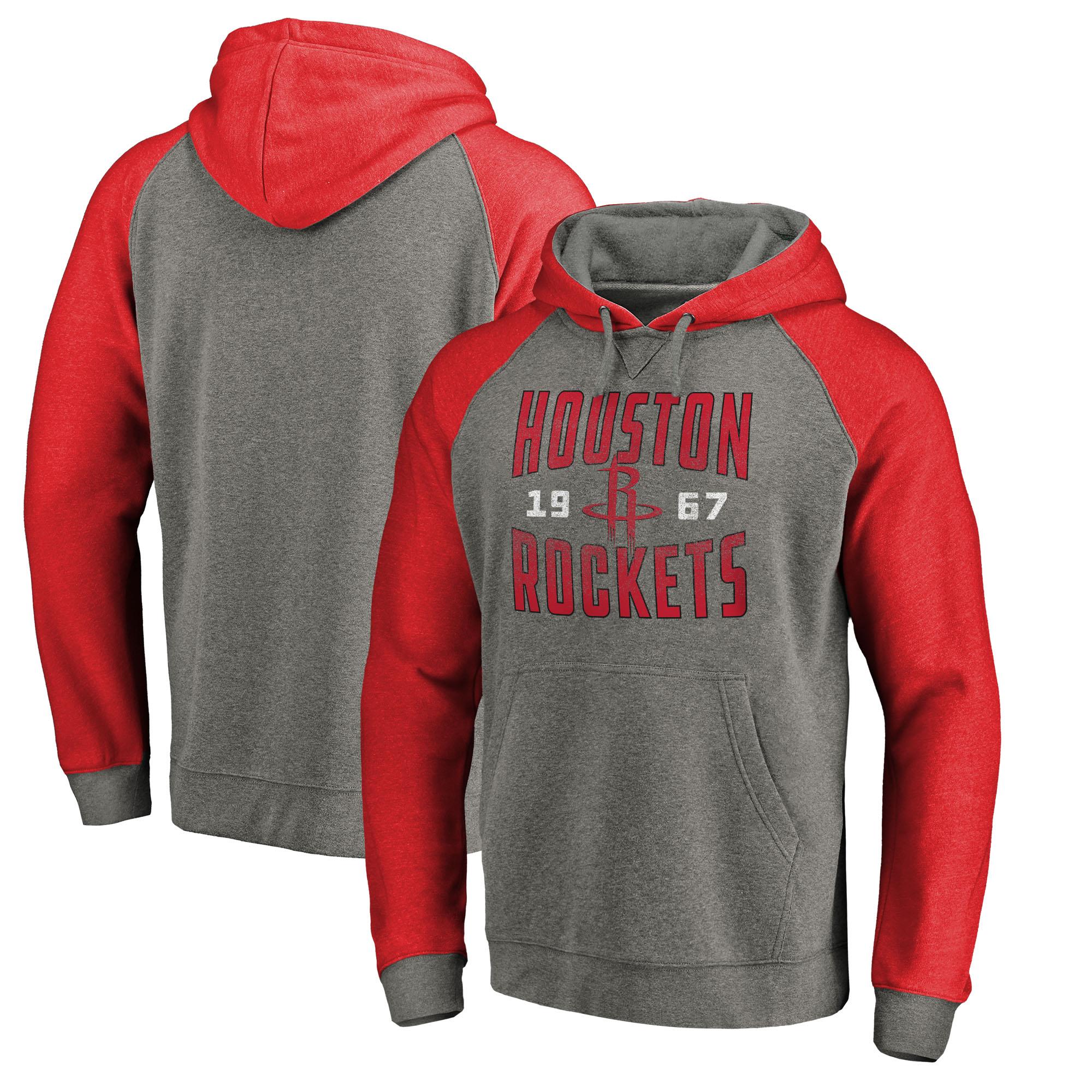 Houston Rockets Fanatics Branded Ash Antique Stack Tri-Blend Raglan Pullover Hoodie