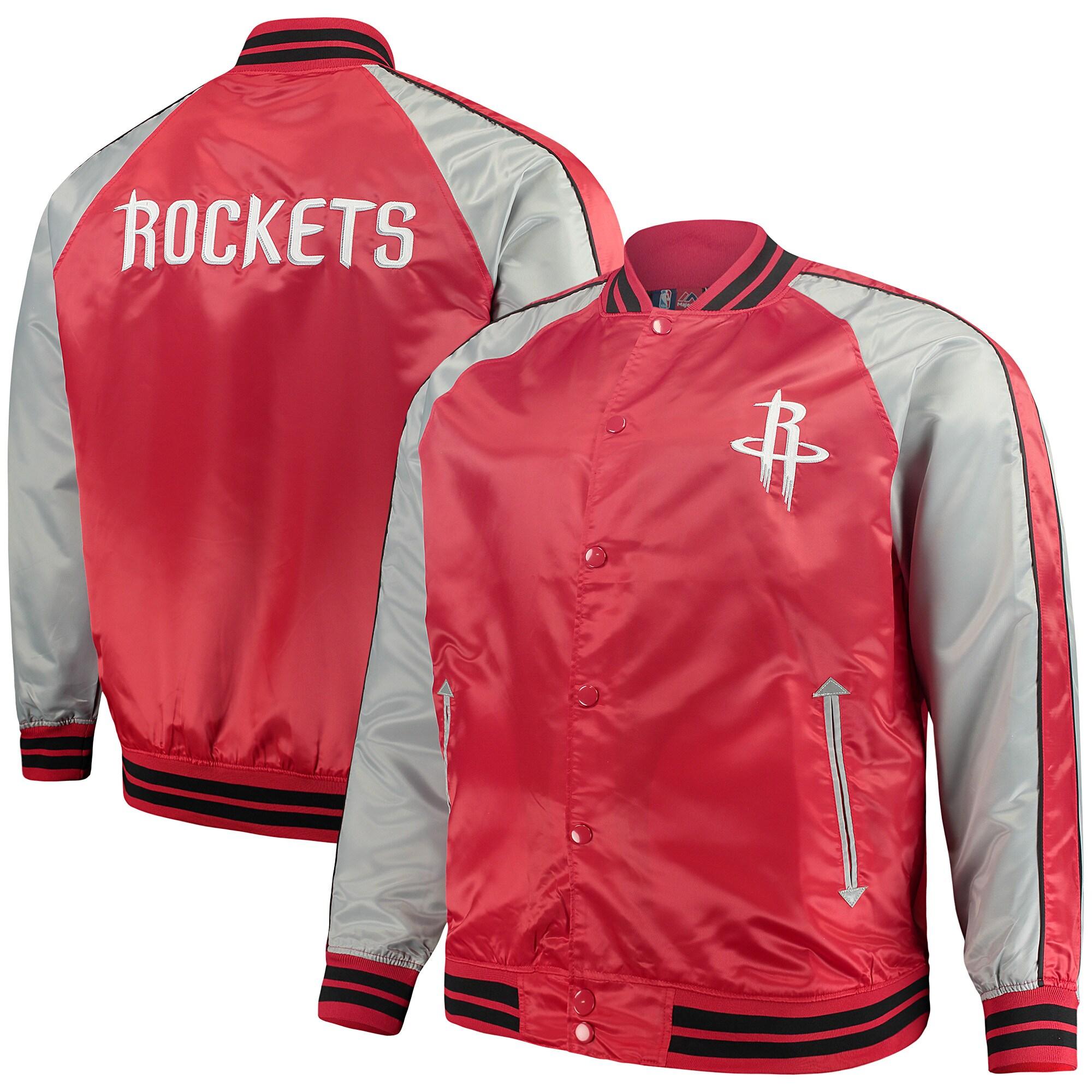 Houston Rockets Majestic Big & Tall Lightweight Satin Full-Snap Jacket - Red