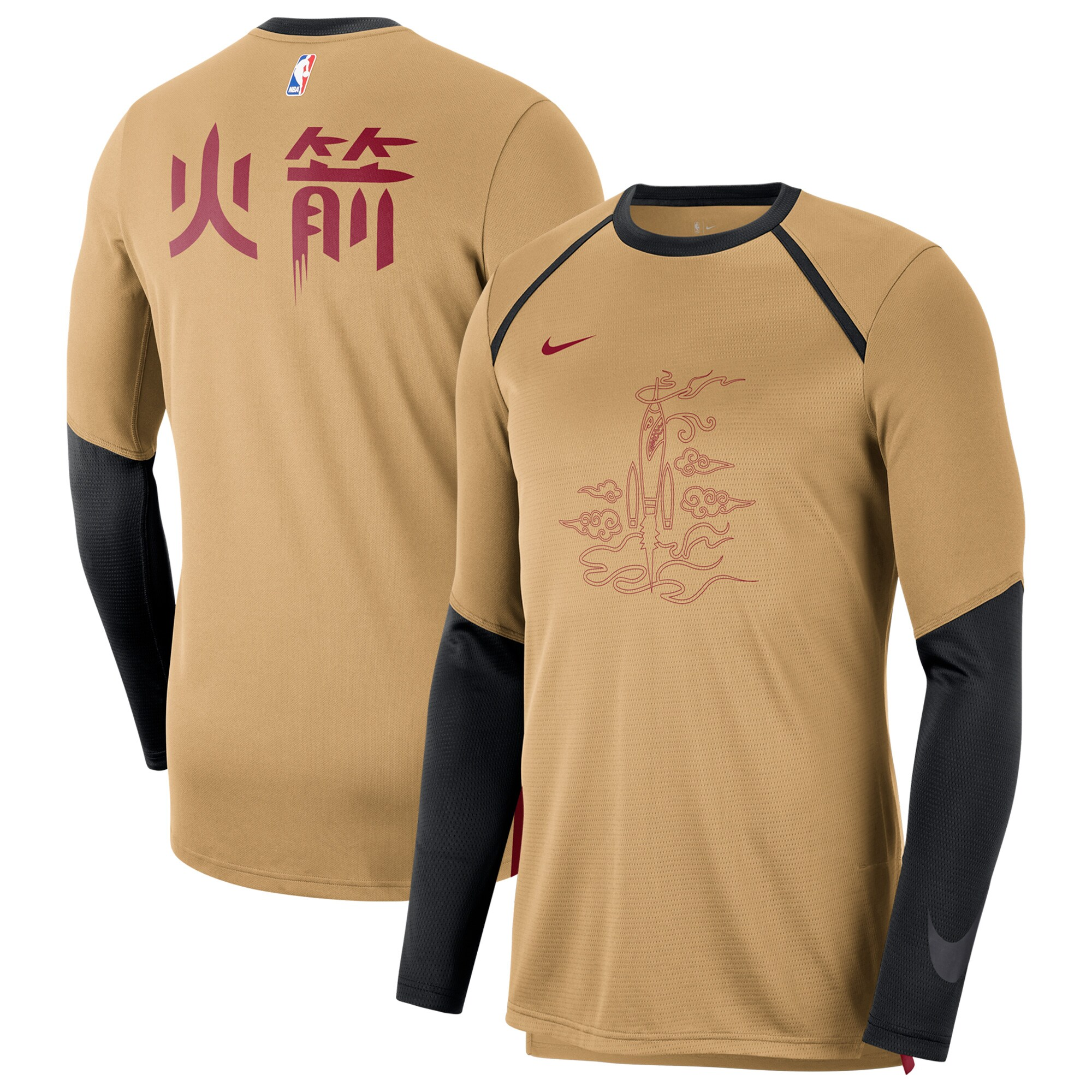 Houston Rockets Nike City Edition Long Sleeve Shooting T-Shirt - Gold