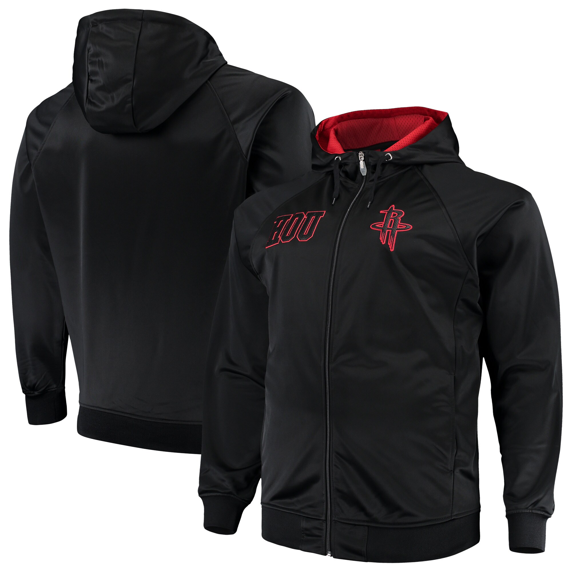 Houston Rockets Majestic Big & Tall Blackout City Color Pop Full-Zip Hoodie - Black/Red