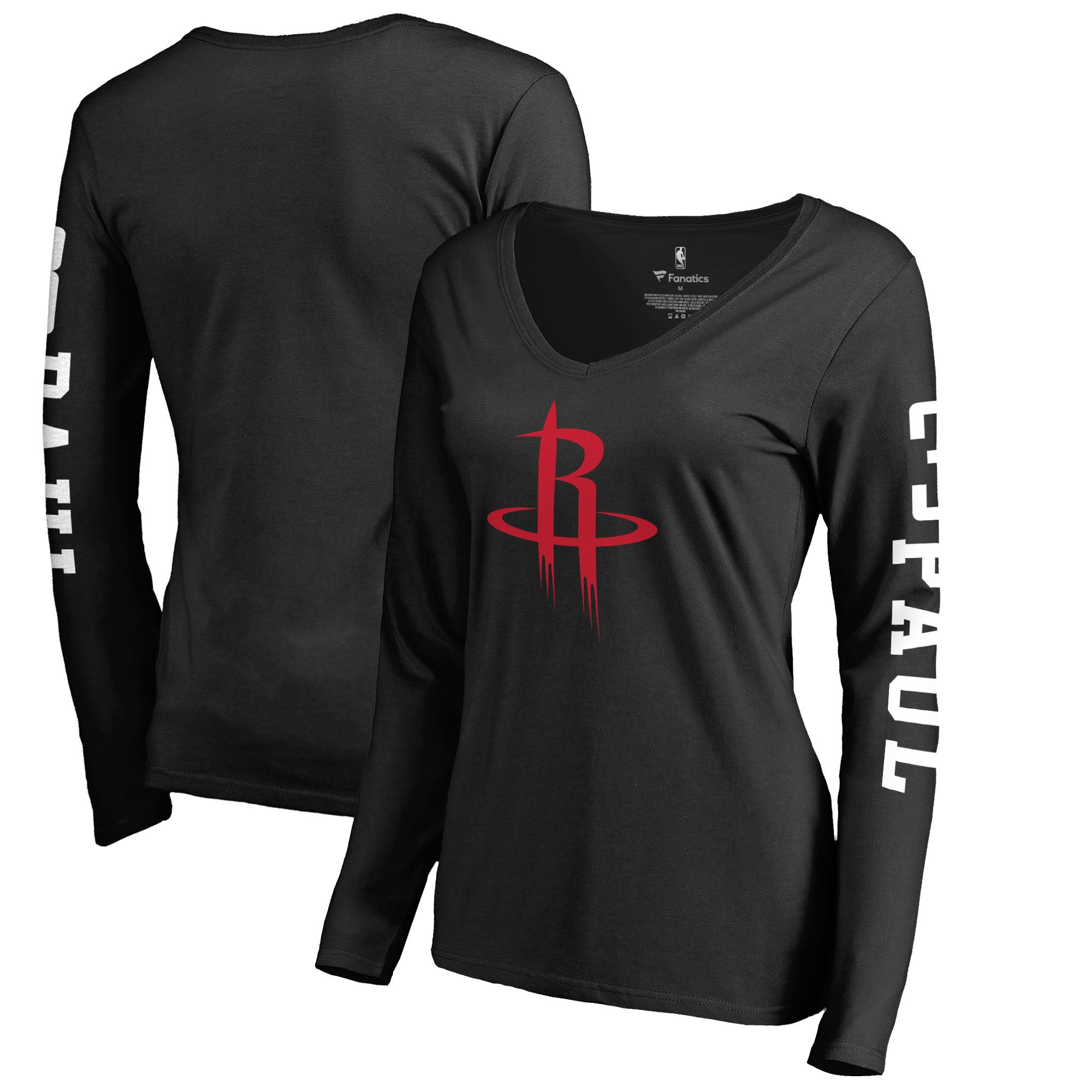 Chris Paul Houston Rockets Fanatics Branded Women's Team Idol Name & Number Long Sleeve V-Neck T-Shirt - Black