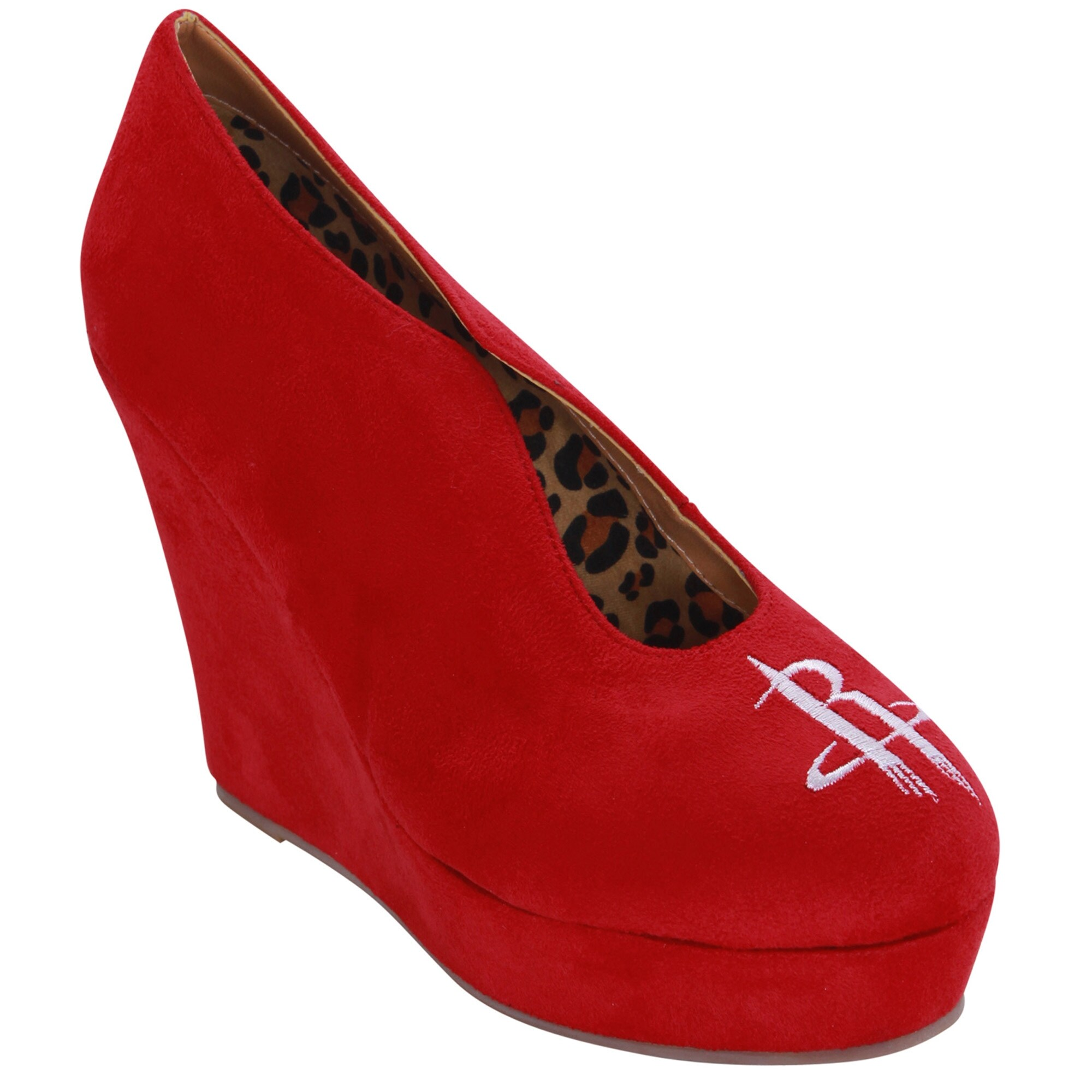 Houston Rockets Cuce Shoes Women's Spirited Wedge Pumps - Red