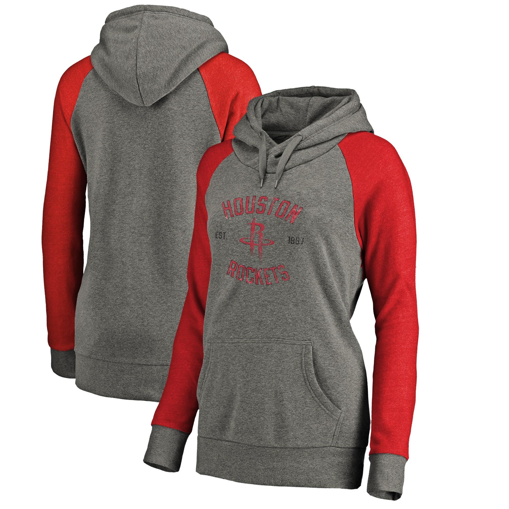 Houston Rockets Fanatics Branded Women's Heritage Tri-Blend Raglan Plus Size Pullover Hoodie - Heathered Gray