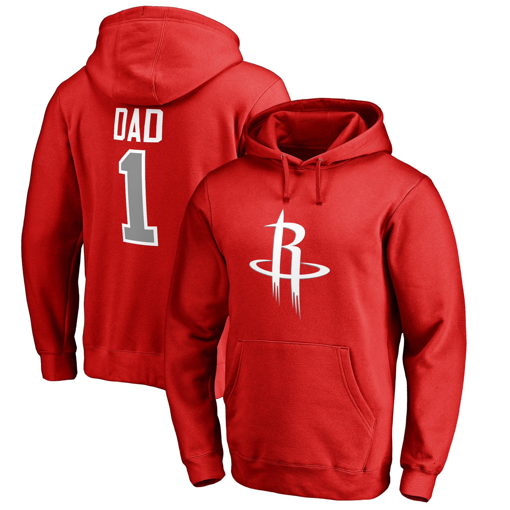 Houston Rockets Fanatics Branded Big & Tall #1 Dad Pullover Hoodie - Red
