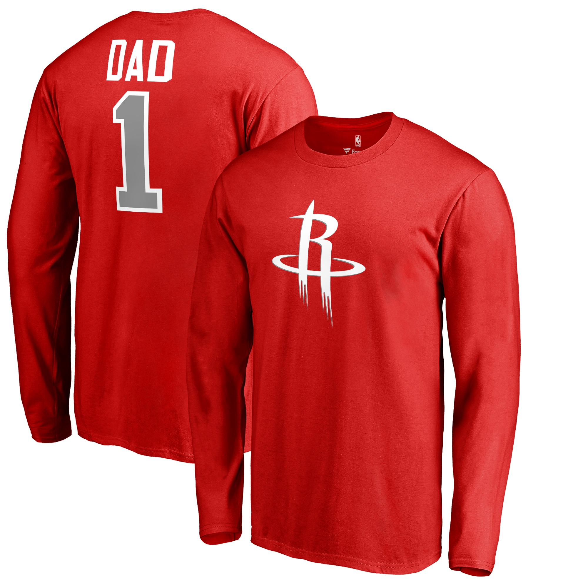 Houston Rockets Fanatics Branded Big & Tall #1 Dad Long Sleeve T-Shirt - Red