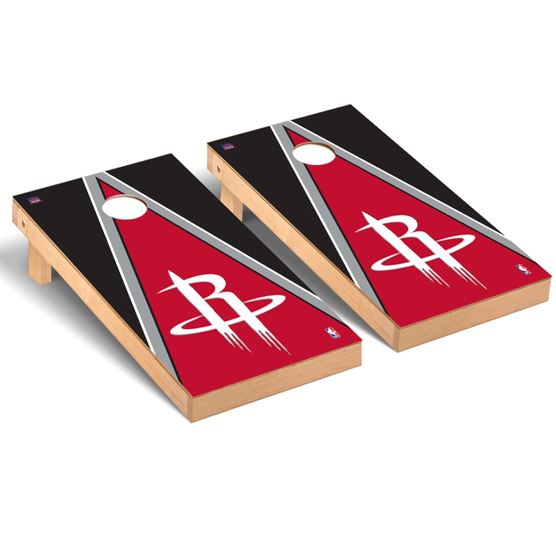 Houston Rockets 2' x 4' Triangle Museum Cornhole Board Tailgate Toss Set