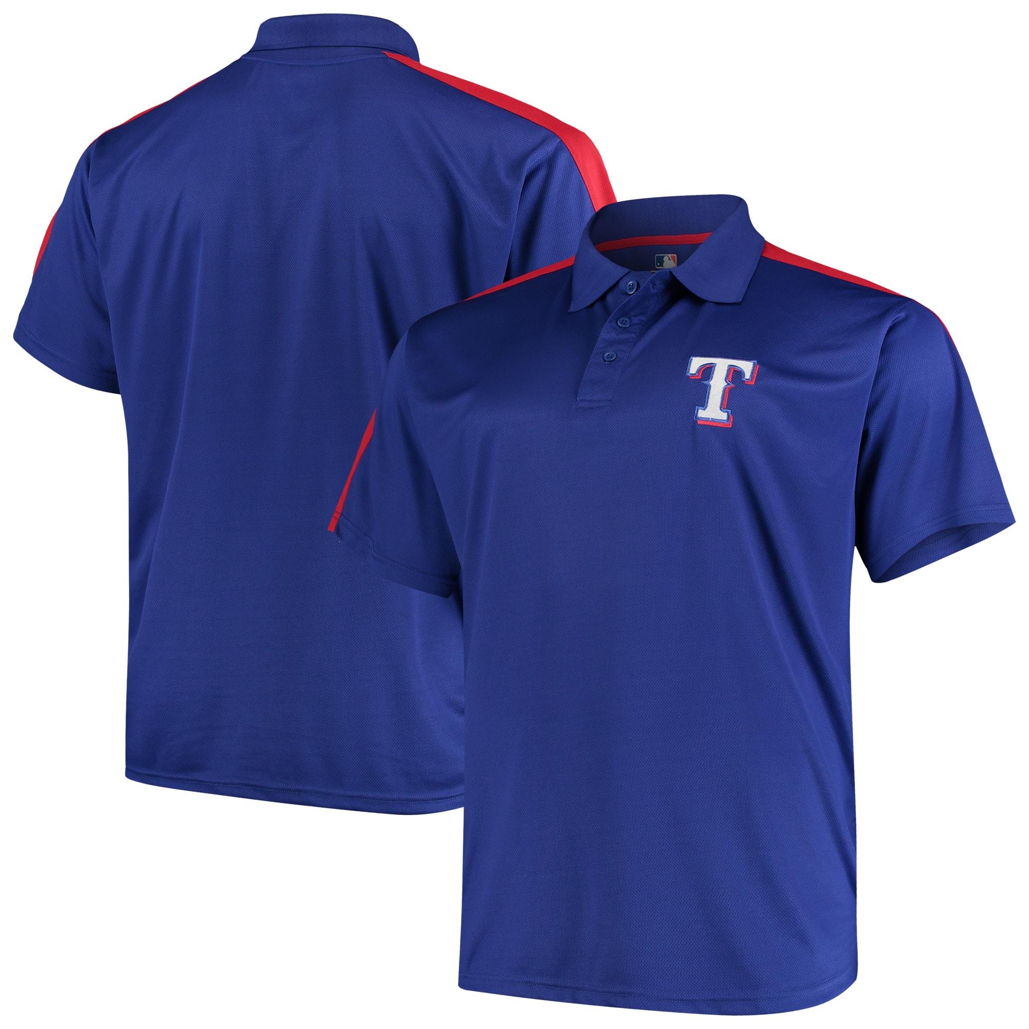 Texas Rangers Big & Tall 2-Tone Birdseye Polo - Royal/Red