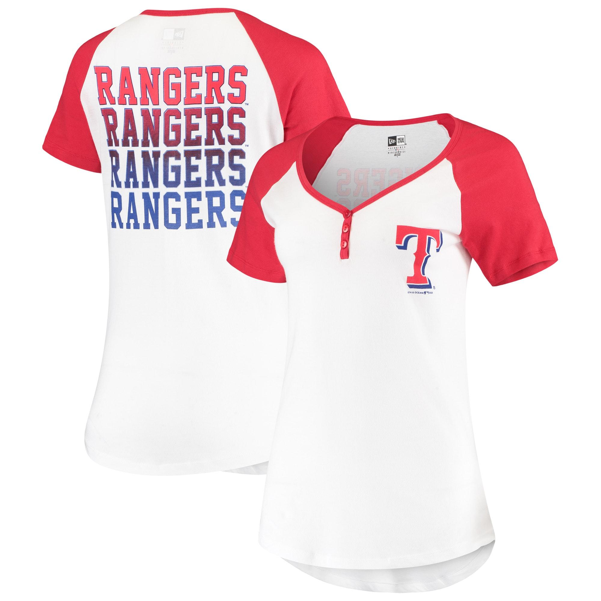 Texas Rangers New Era Women's Henley T-Shirt - White