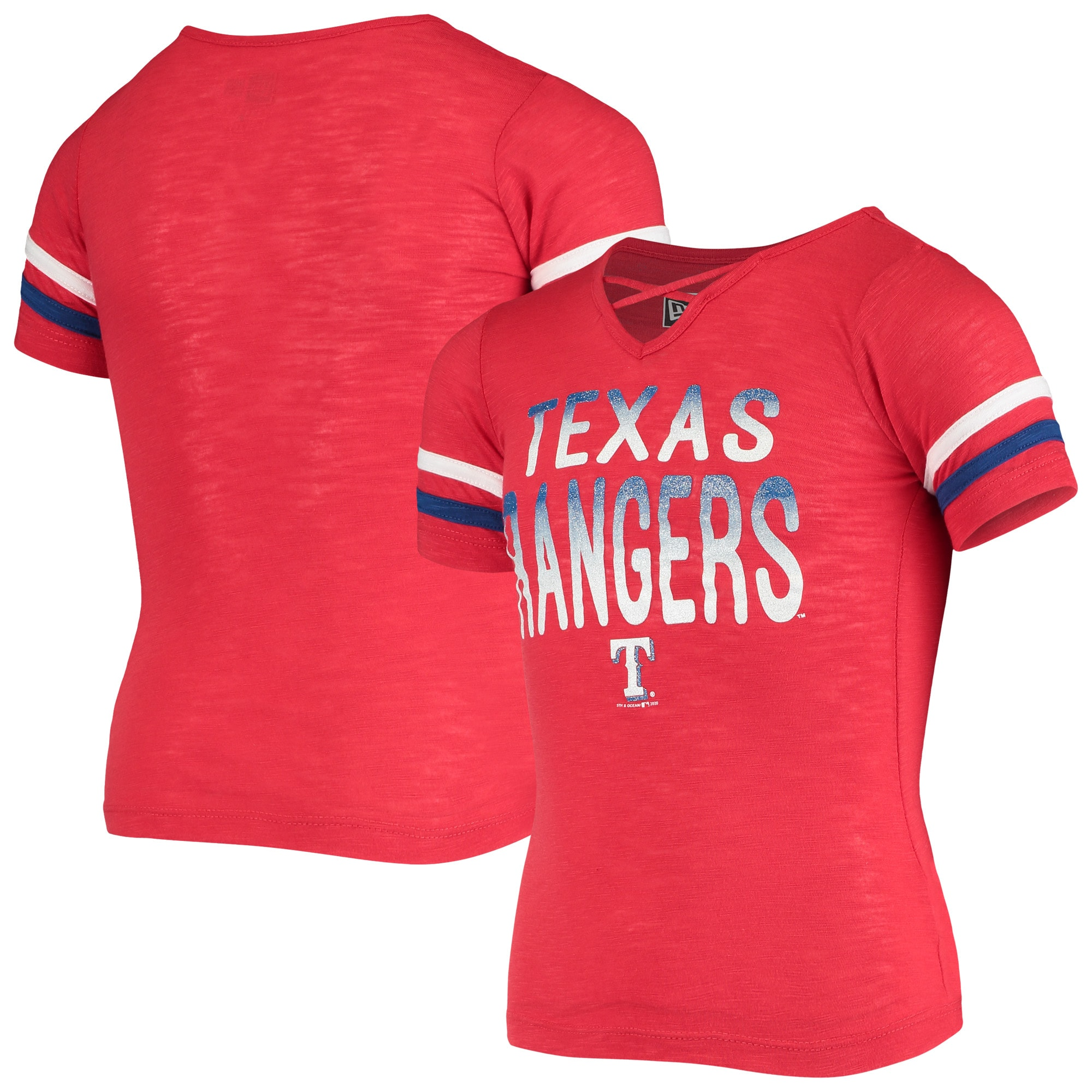 Texas Rangers New Era Girls Youth Slub Jersey V-Neck T-Shirt - Red