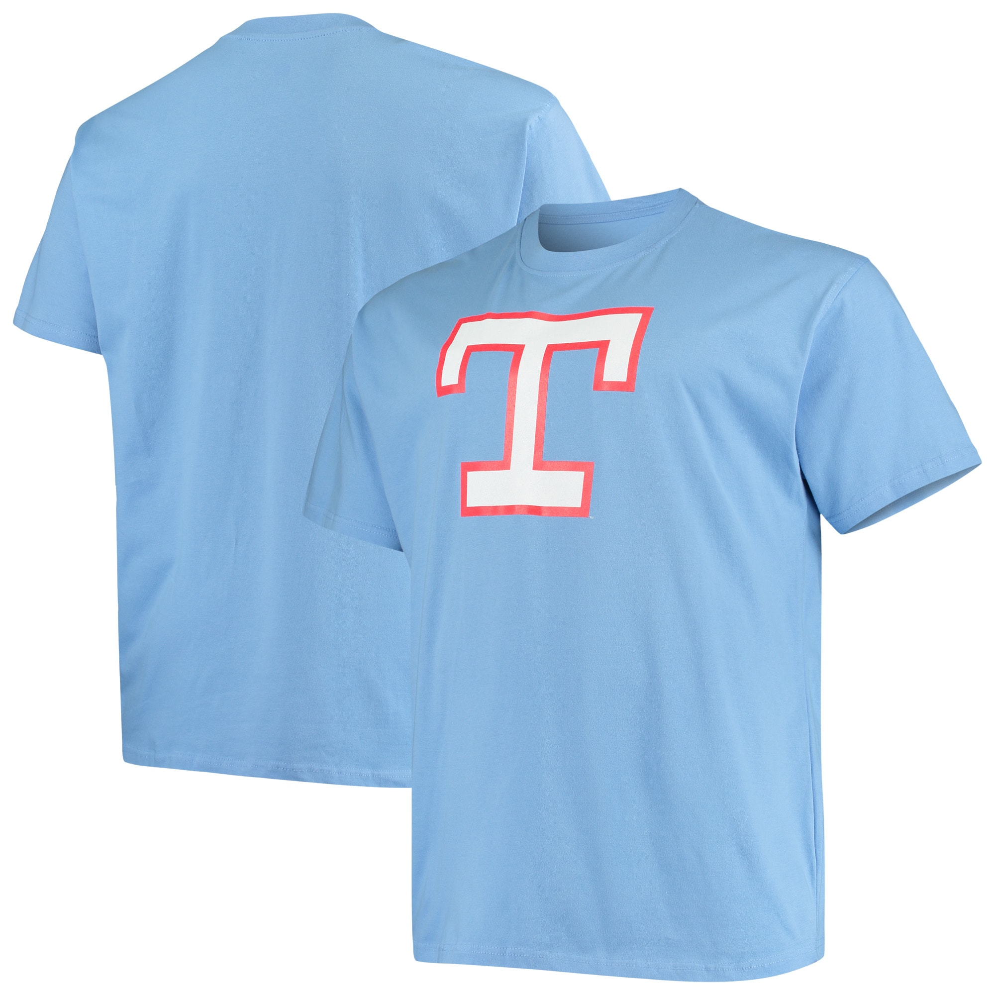 Texas Rangers Big & Tall Cooperstown Collection Large Logo T-Shirt - Light Blue