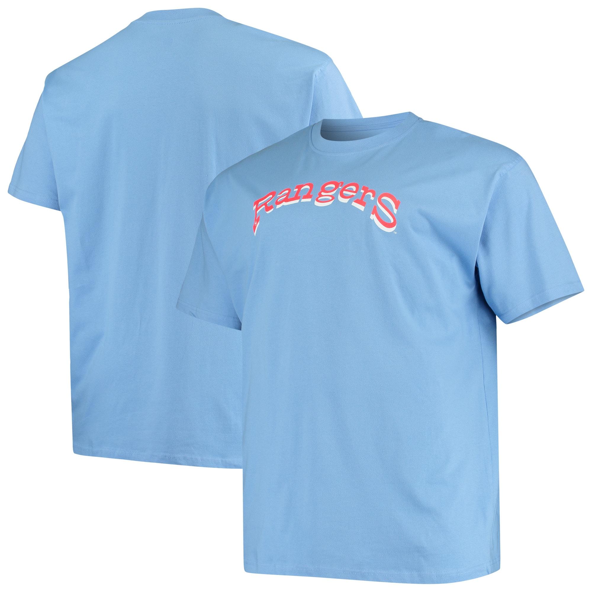 Texas Rangers Big & Tall Cooperstown Collection Wordmark T-Shirt - Light Blue