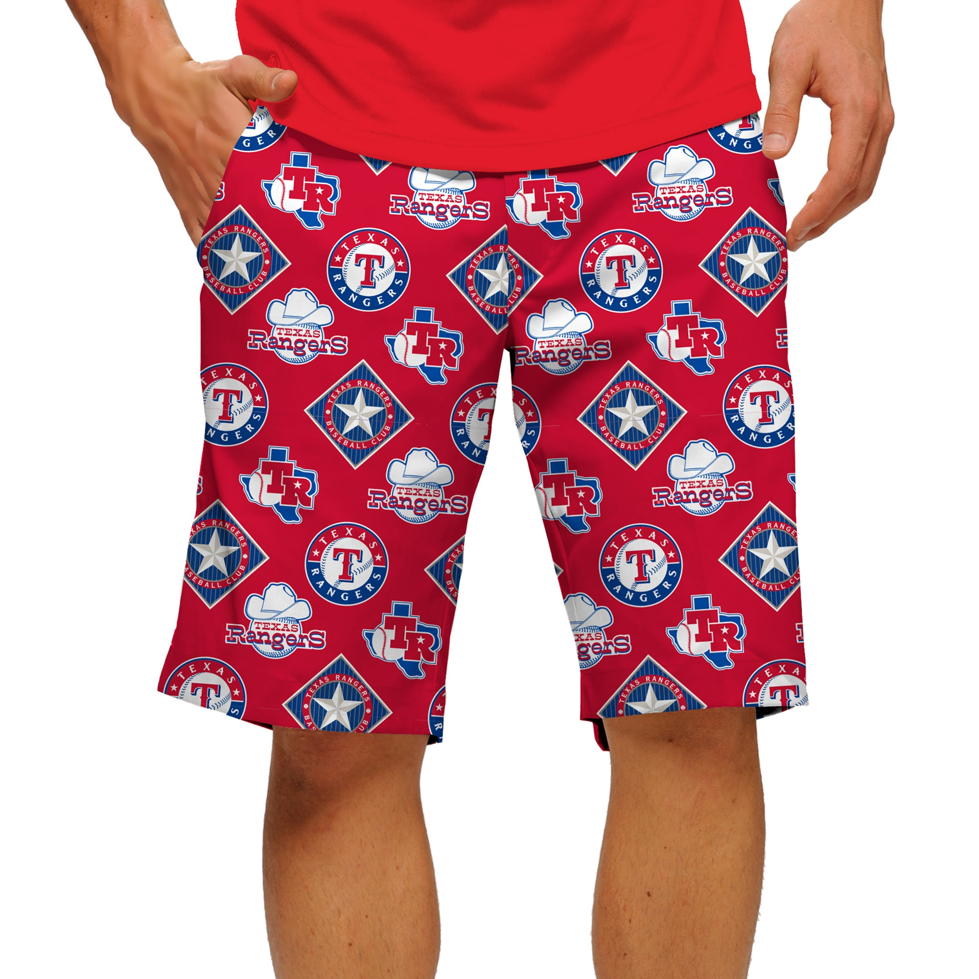 Texas Rangers Loudmouth Poly Solid StretchTech Shorts - Royal/Red