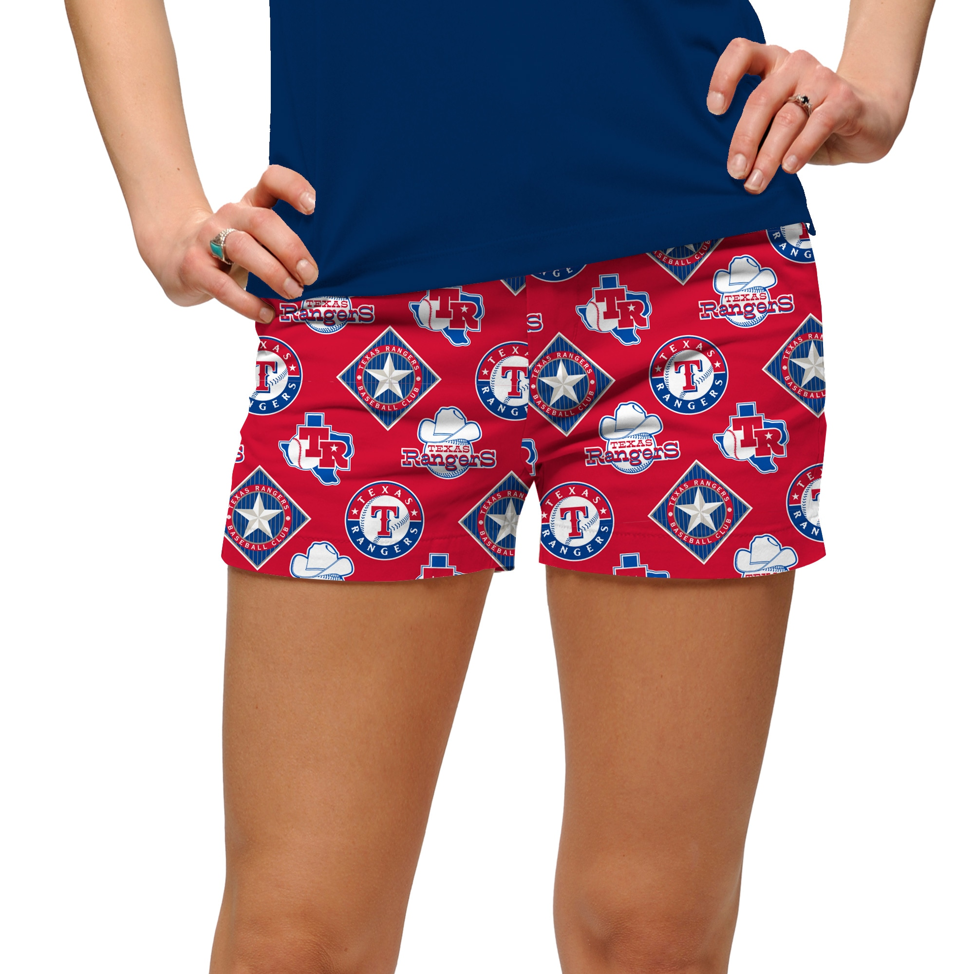 Texas Rangers Loudmouth Women's Cooperstown Retro Mini Shorts - Royal/Red