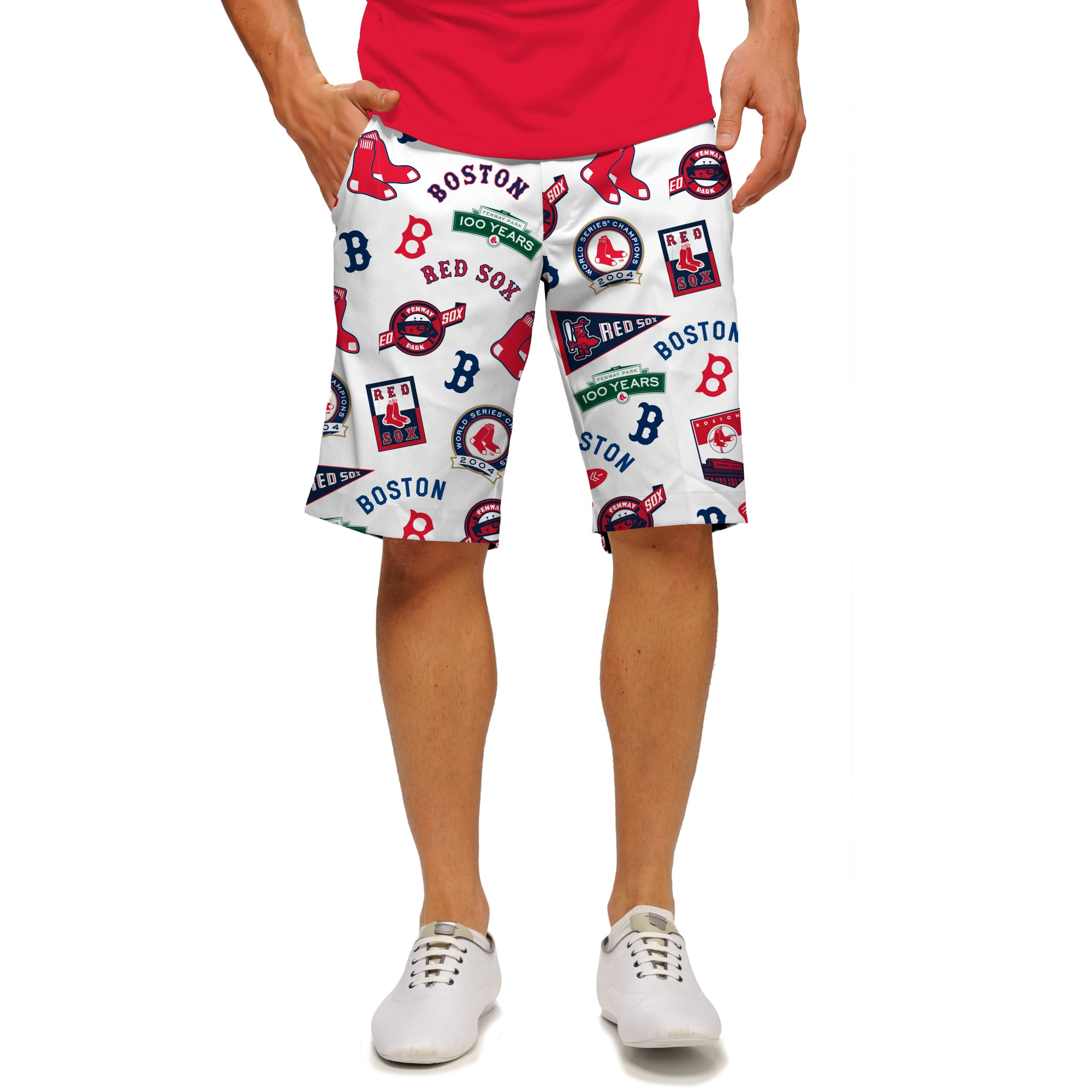 Boston Red Sox Loudmouth StretchTech Shorts - White/Red