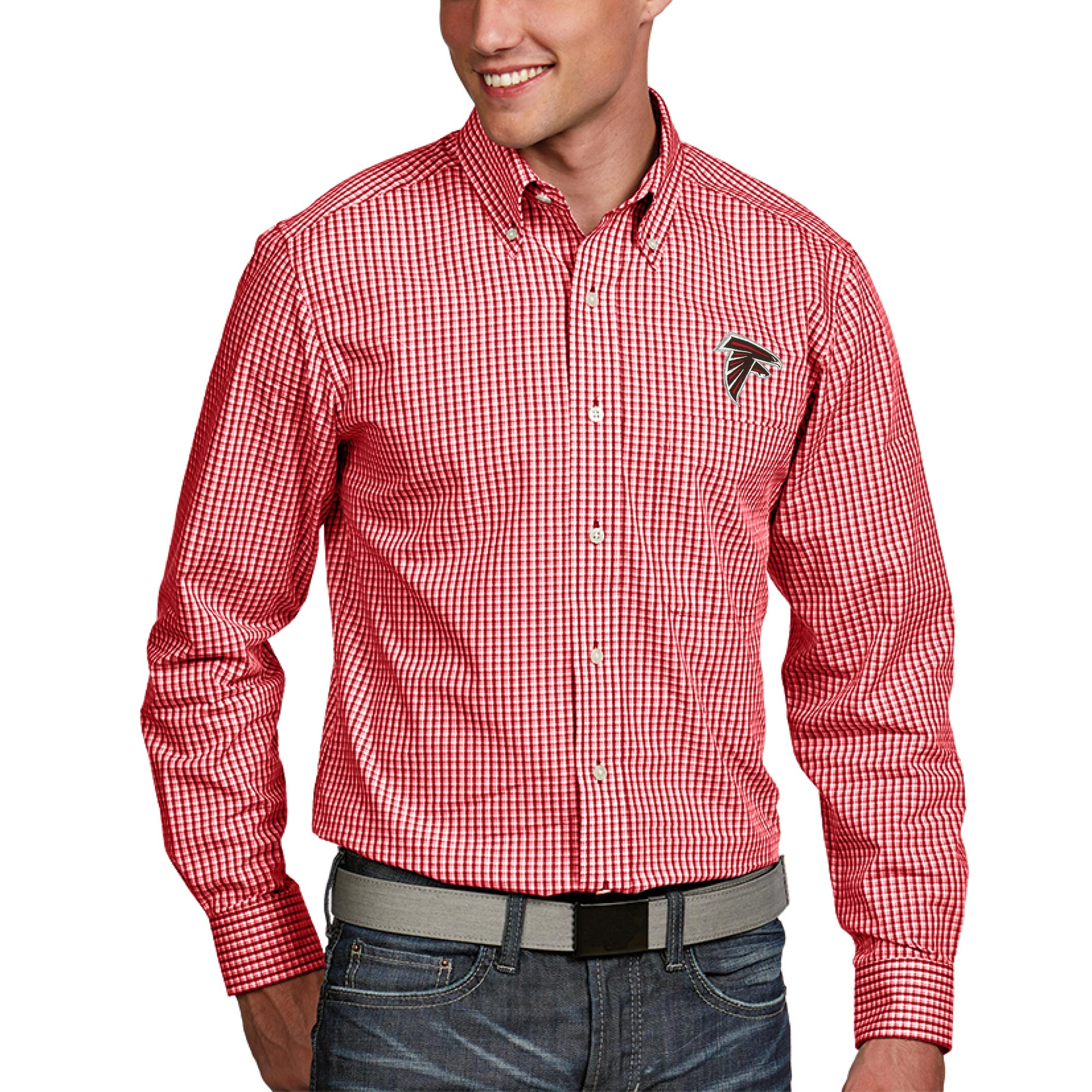 Atlanta Falcons Antigua Associate Woven Long Sleeve Button-Down Shirt - Red