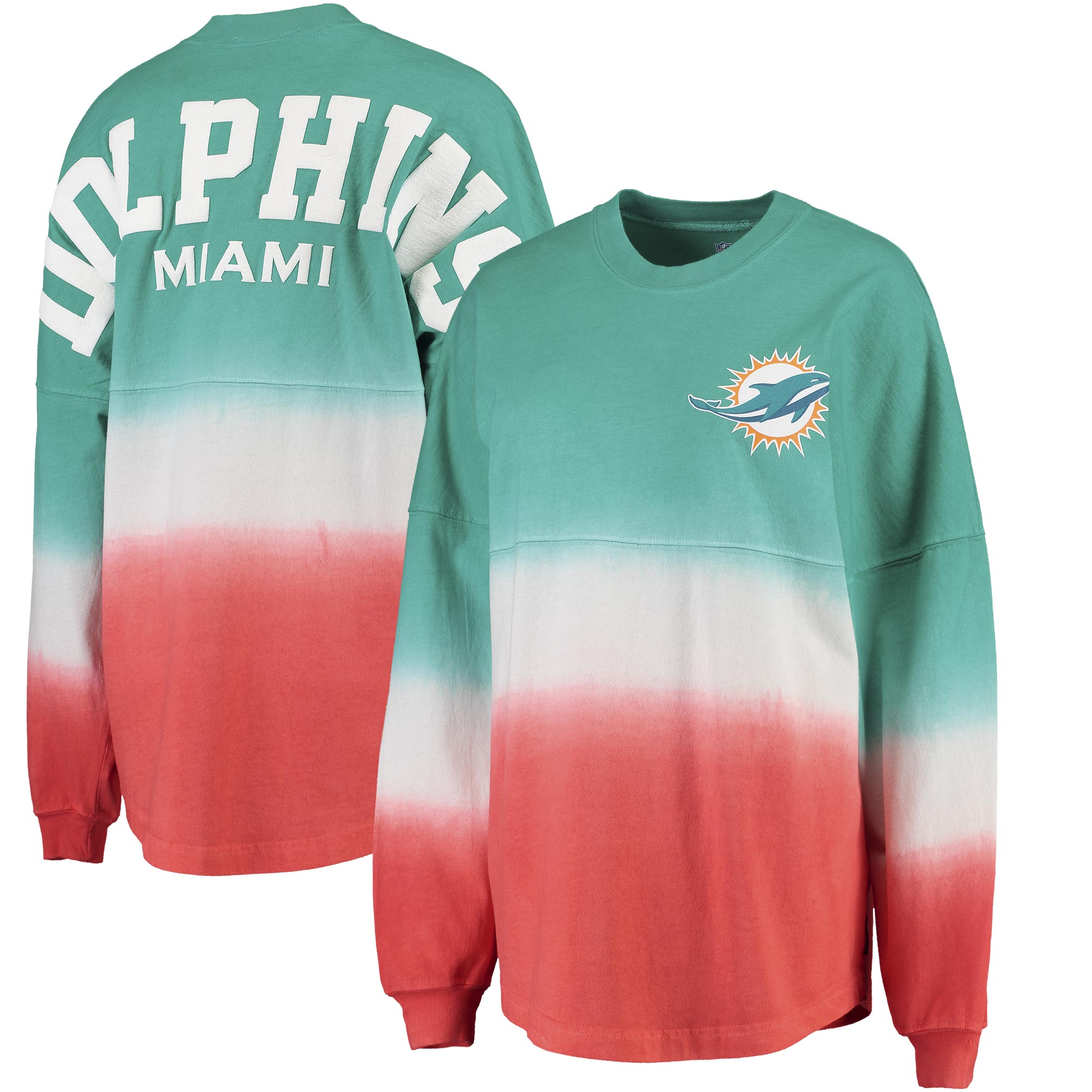 Miami Dolphins NFL Pro Line by Fanatics Branded Women's Spirit Jersey Long Sleeve T-Shirt - Aqua/Orange