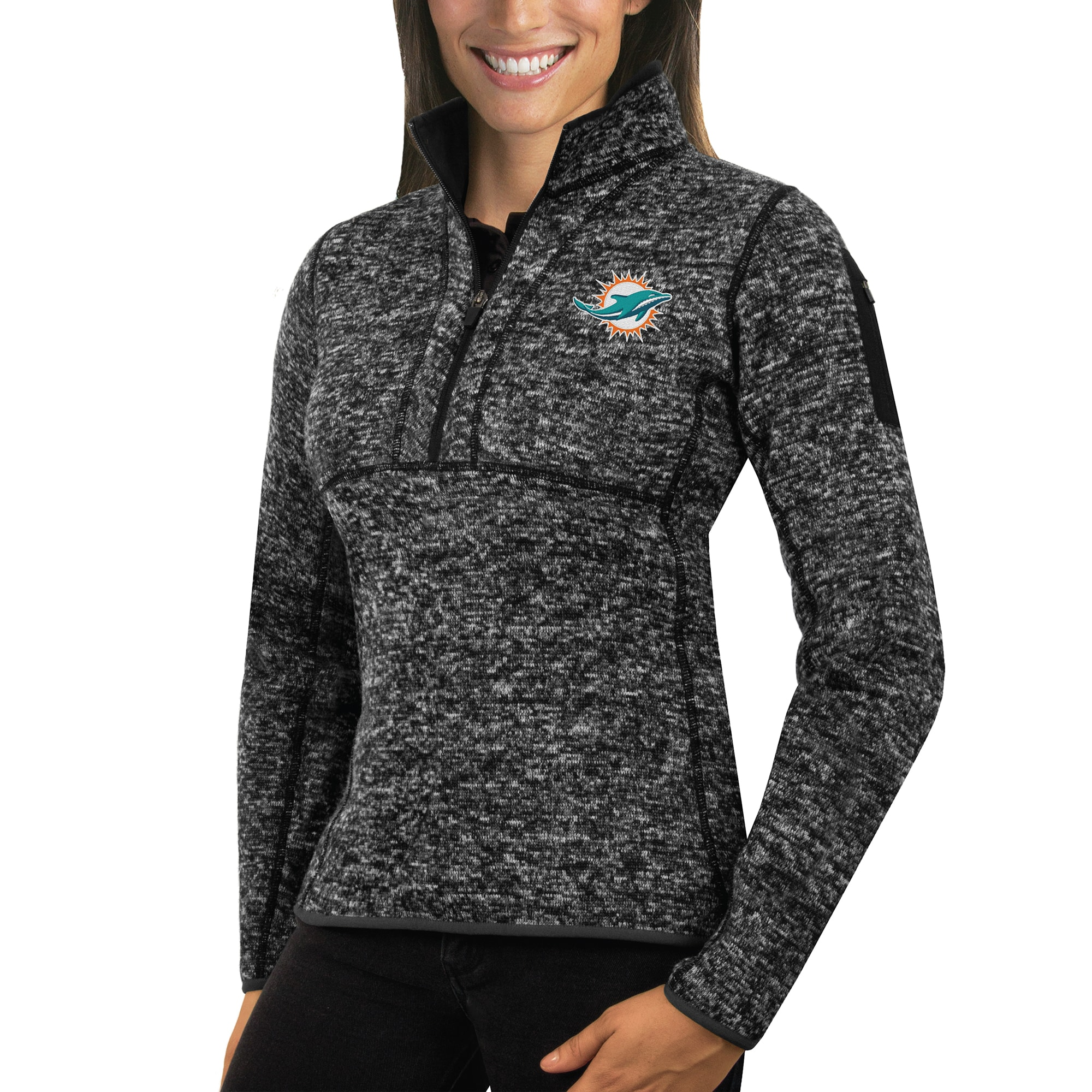 Miami Dolphins Antigua Women's Fortune Half-Zip Sweater - Heather Black