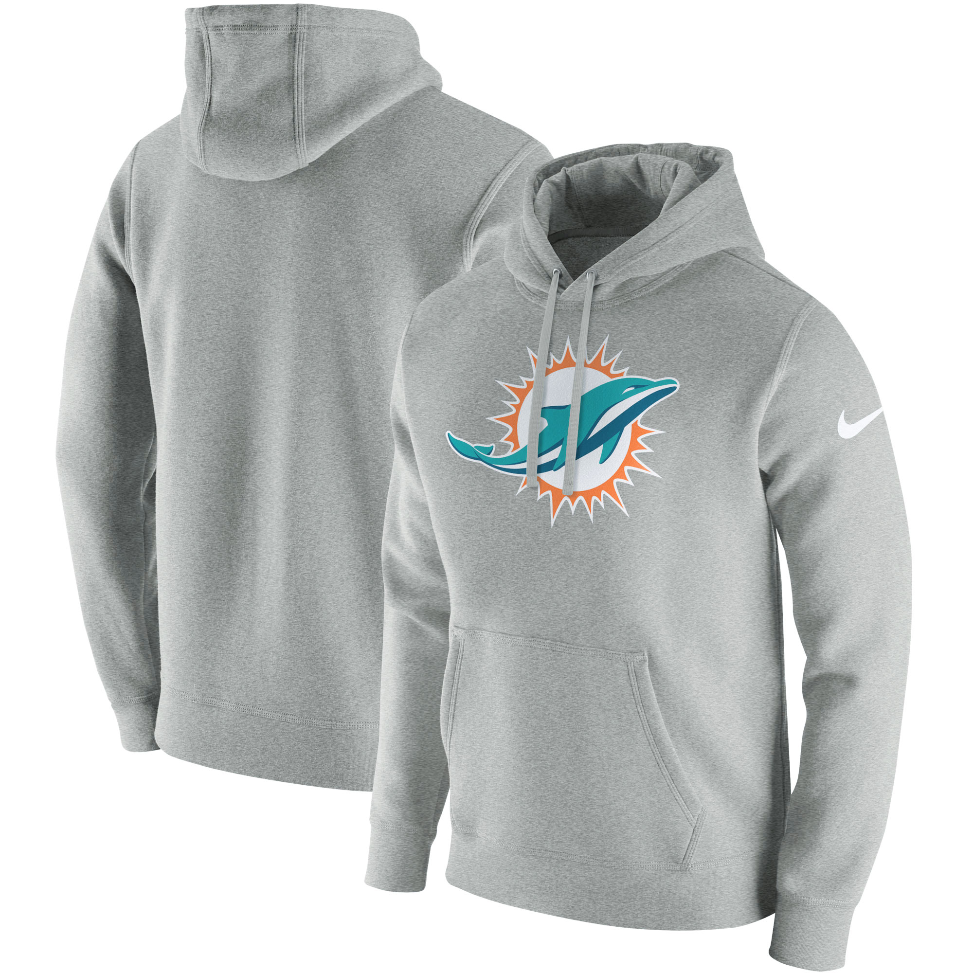 Miami Dolphins Nike Club Fleece Pullover Hoodie - Heathered Gray