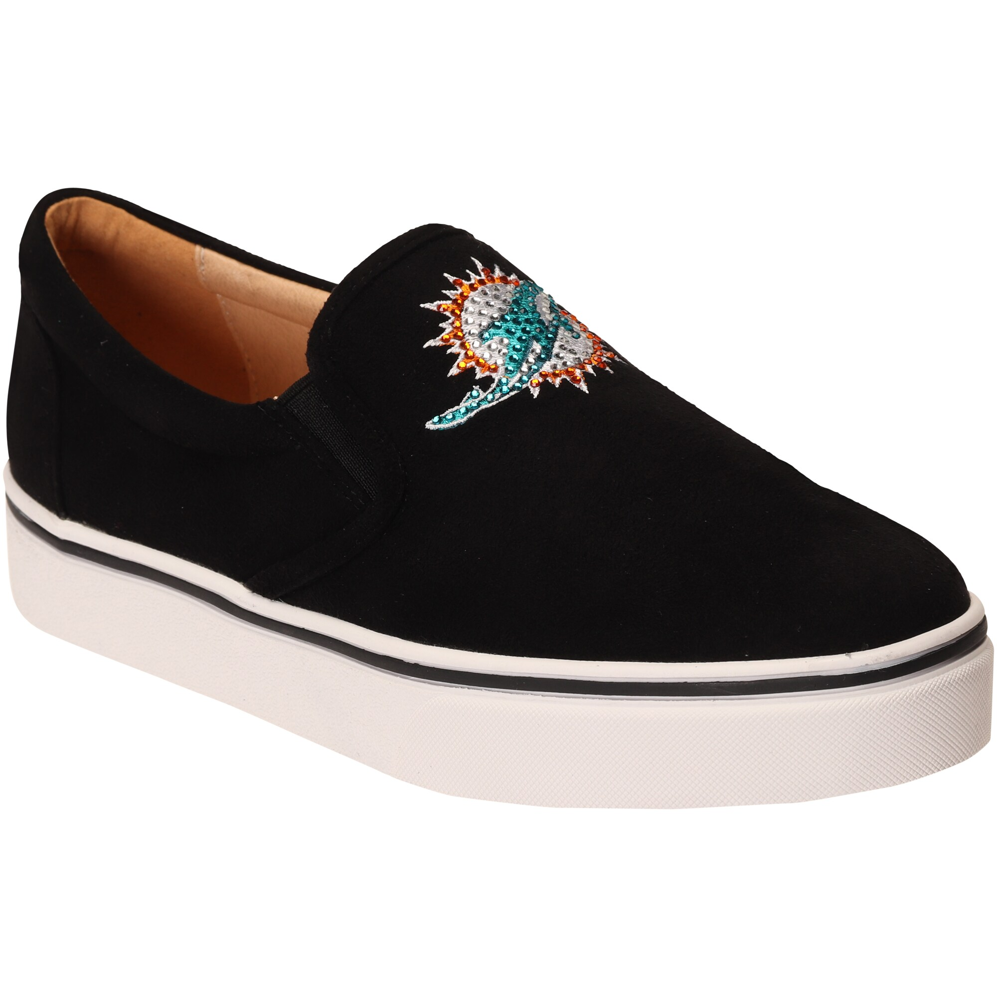 Miami Dolphins Cuce Women's Suede Slip On Shoe - Black