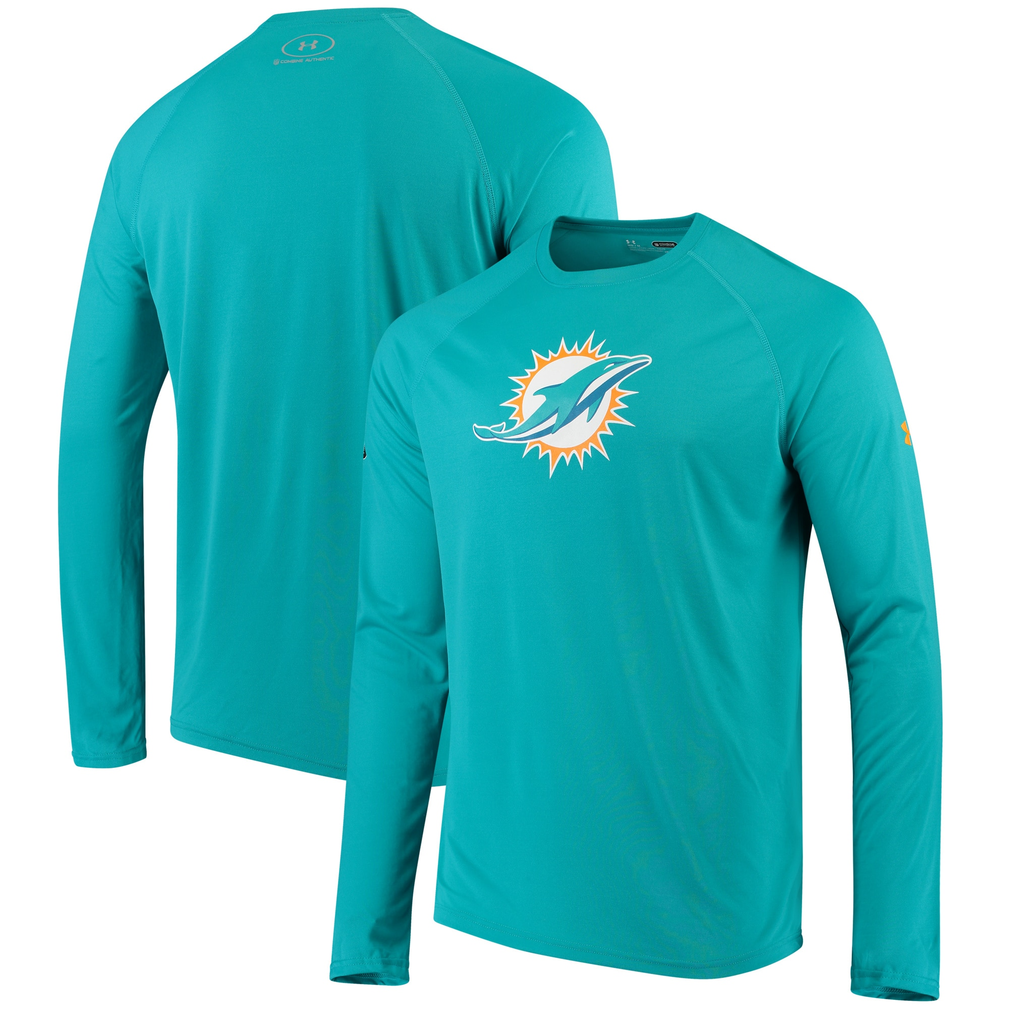 Miami Dolphins Under Armour Combine Authentic Primary Logo Tech Performance Long Sleeve T-Shirt - Aqua