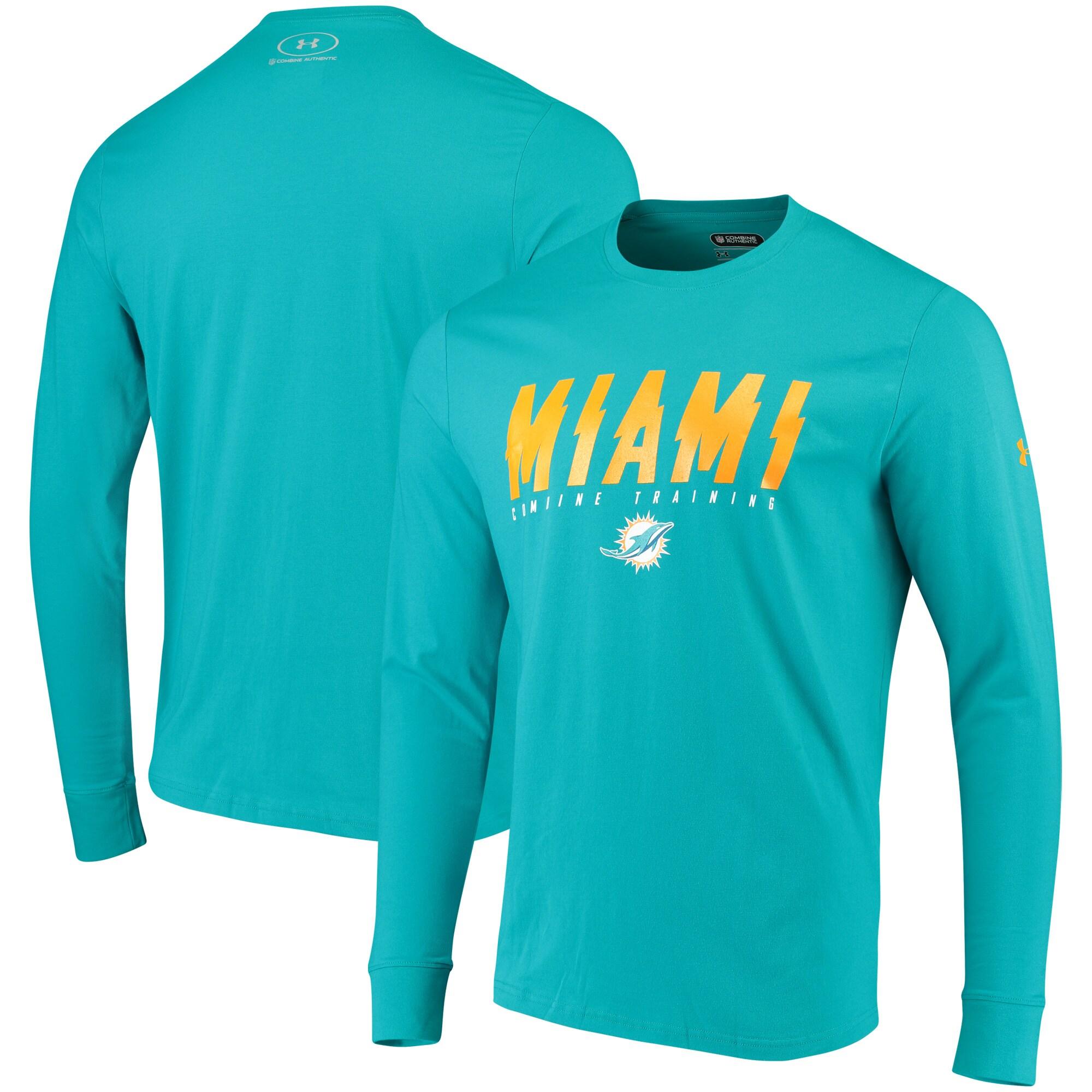 Miami Dolphins Under Armour Combine Authentic Wordmark Long Sleeve T-Shirt - Aqua