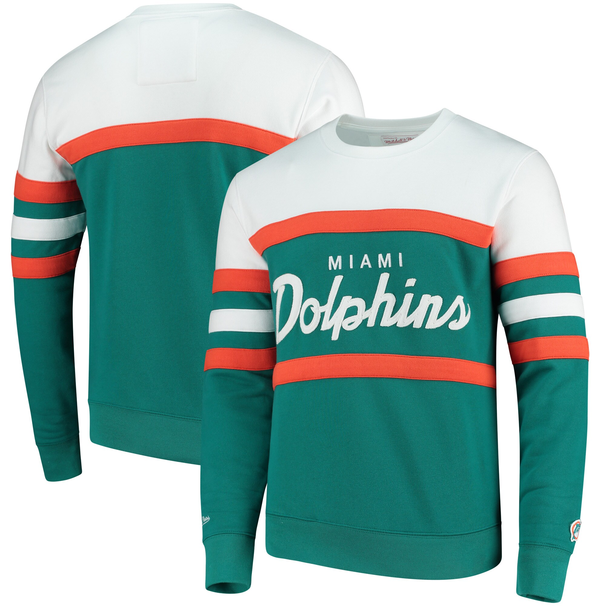 Miami Dolphins Mitchell & Ness Head Coach Crew Sweater - Aqua