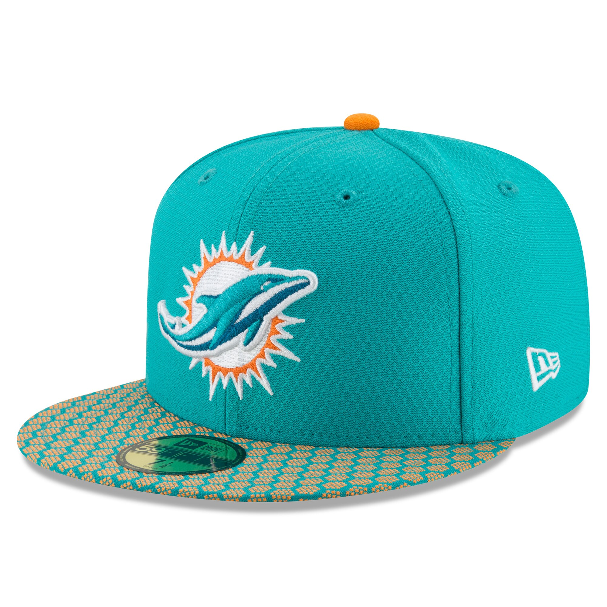 Miami Dolphins New Era 2017 Sideline Official 59FIFTY Fitted Hat - Aqua