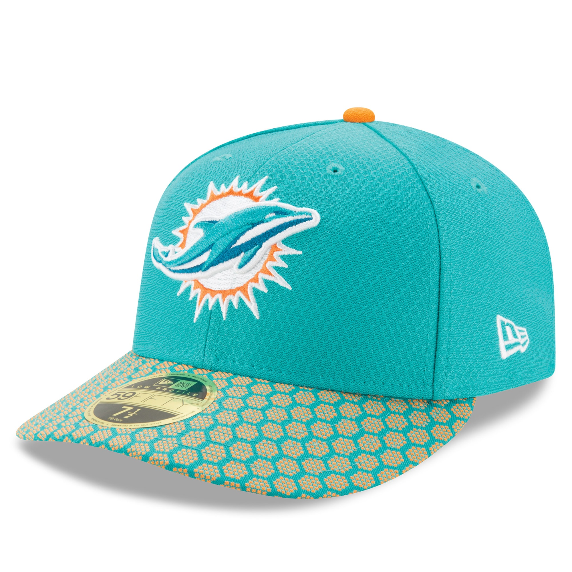 Miami Dolphins New Era 2017 Sideline Official Low Profile 59FIFTY Fitted Hat - Aqua