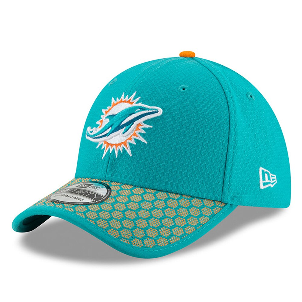 Miami Dolphins New Era 2017 Sideline Official 39THIRTY Flex Hat - Aqua