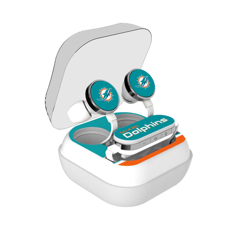 Miami Dolphins Stripe Design Wireless Earbuds