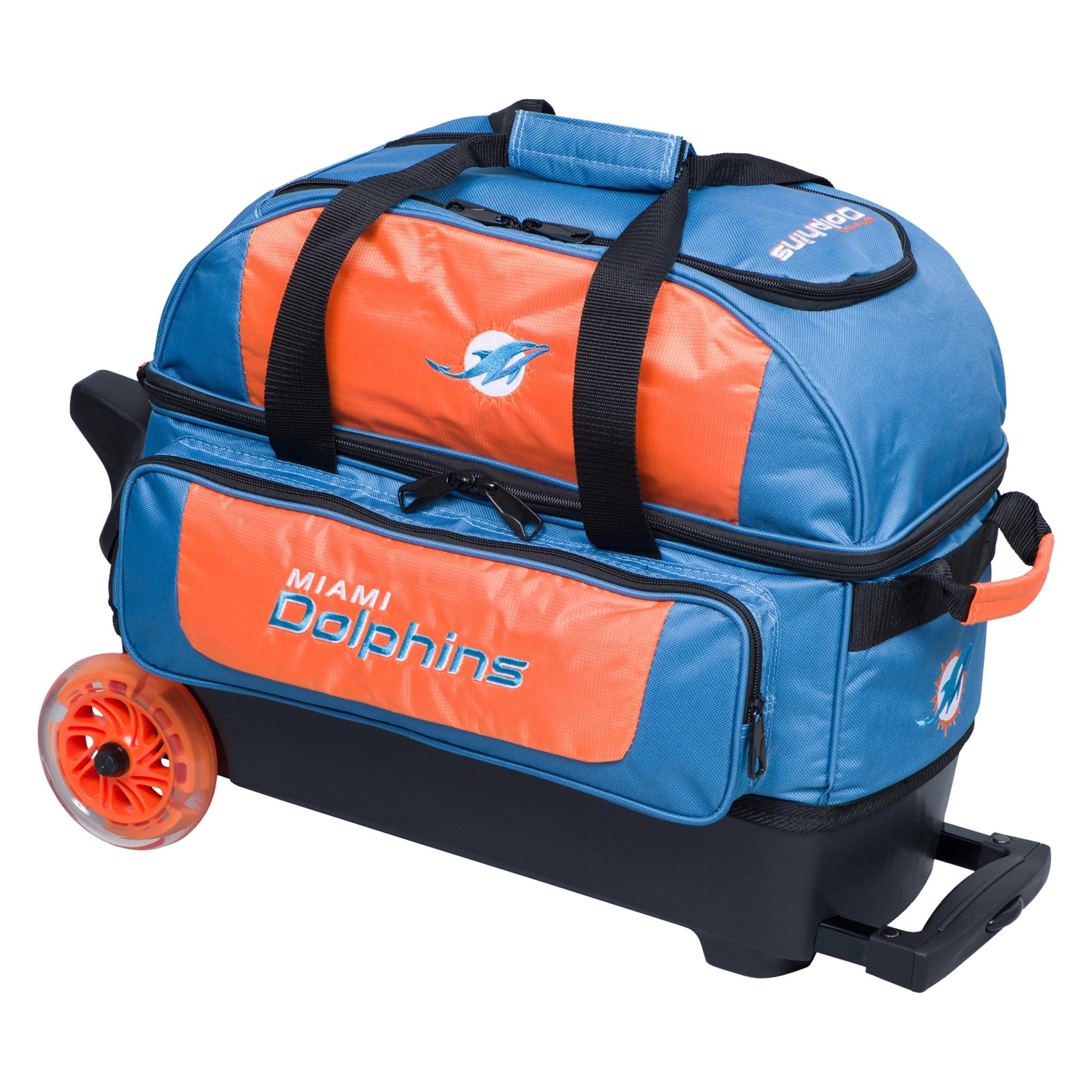 Miami Dolphins Two-Ball Roller Bowling Bag - Aqua