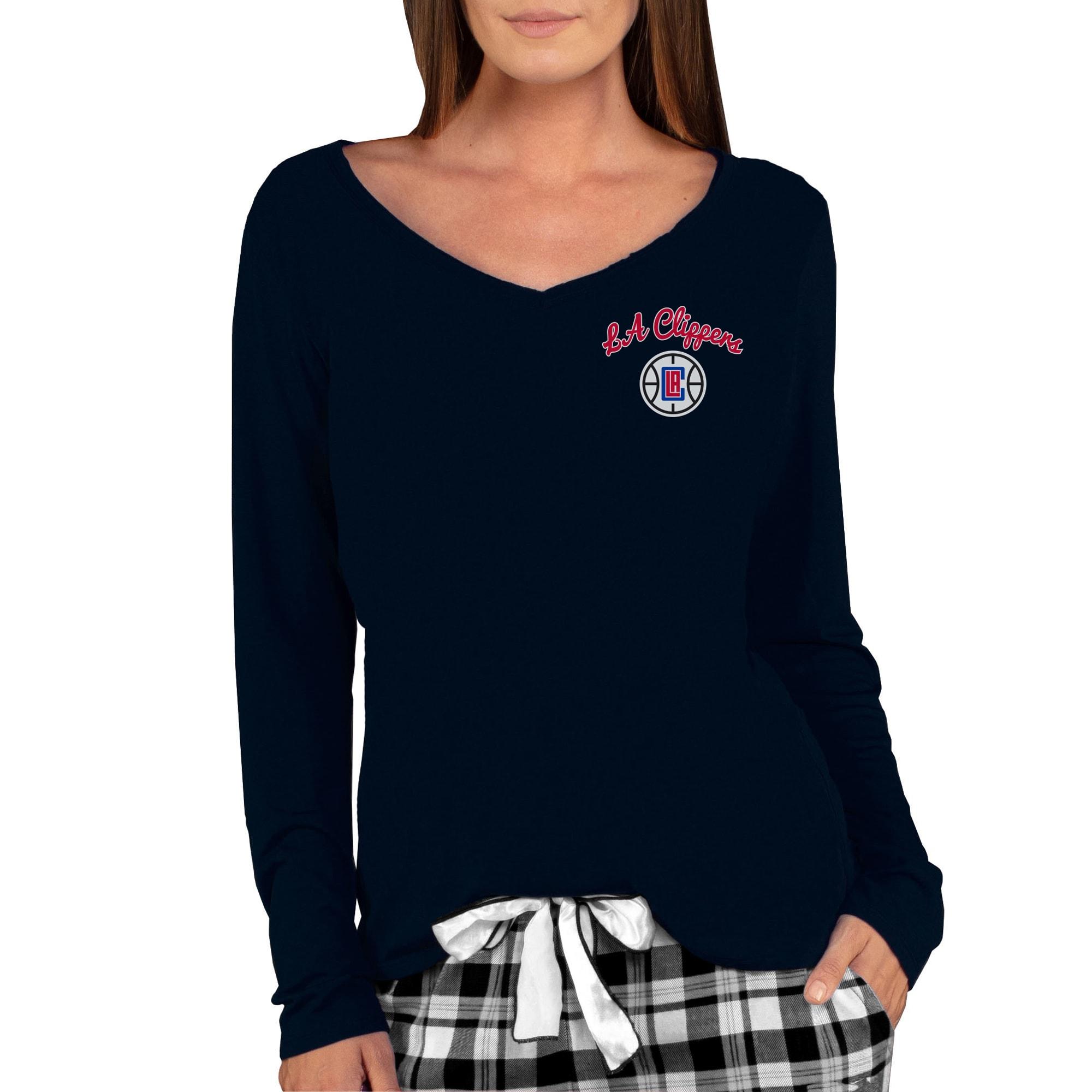 LA Clippers Concepts Sport Women's Marathon V-Neck Long Sleeve T-Shirt - Black