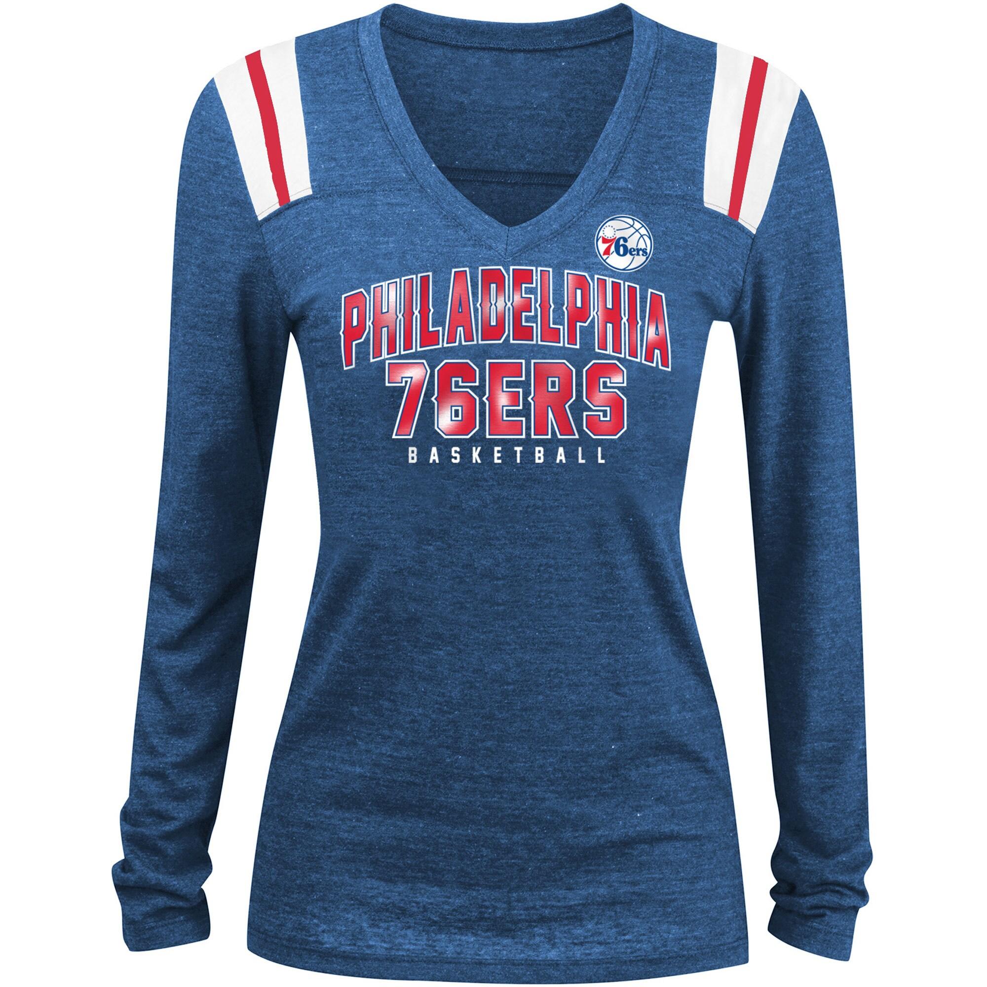 Philadelphia 76ers New Era Women's Tri-Blend Long Sleeve V-Neck T-Shirt - Royal/White